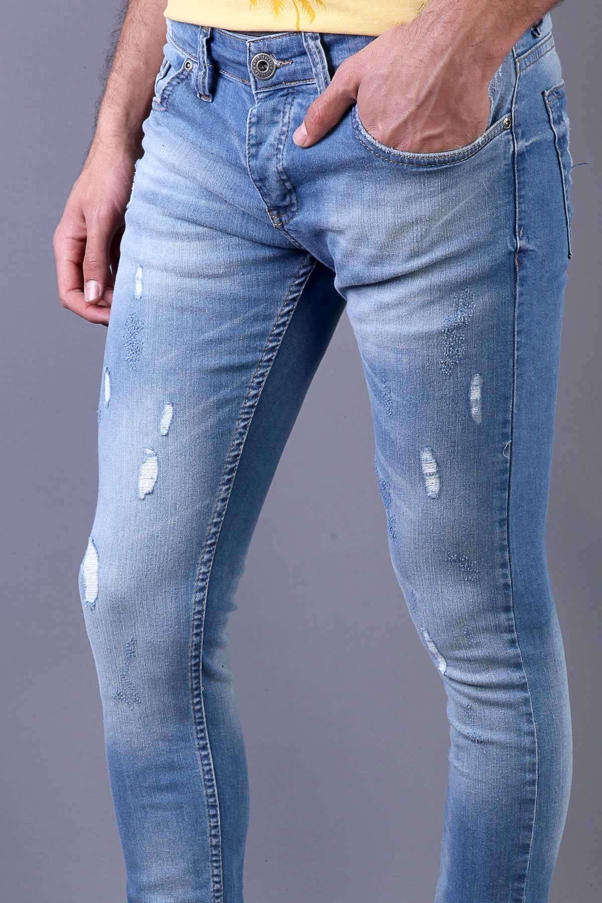 İnce İp Yamalı Lazer Tırtıklı Slim Fit Kot Pantolon Mavi