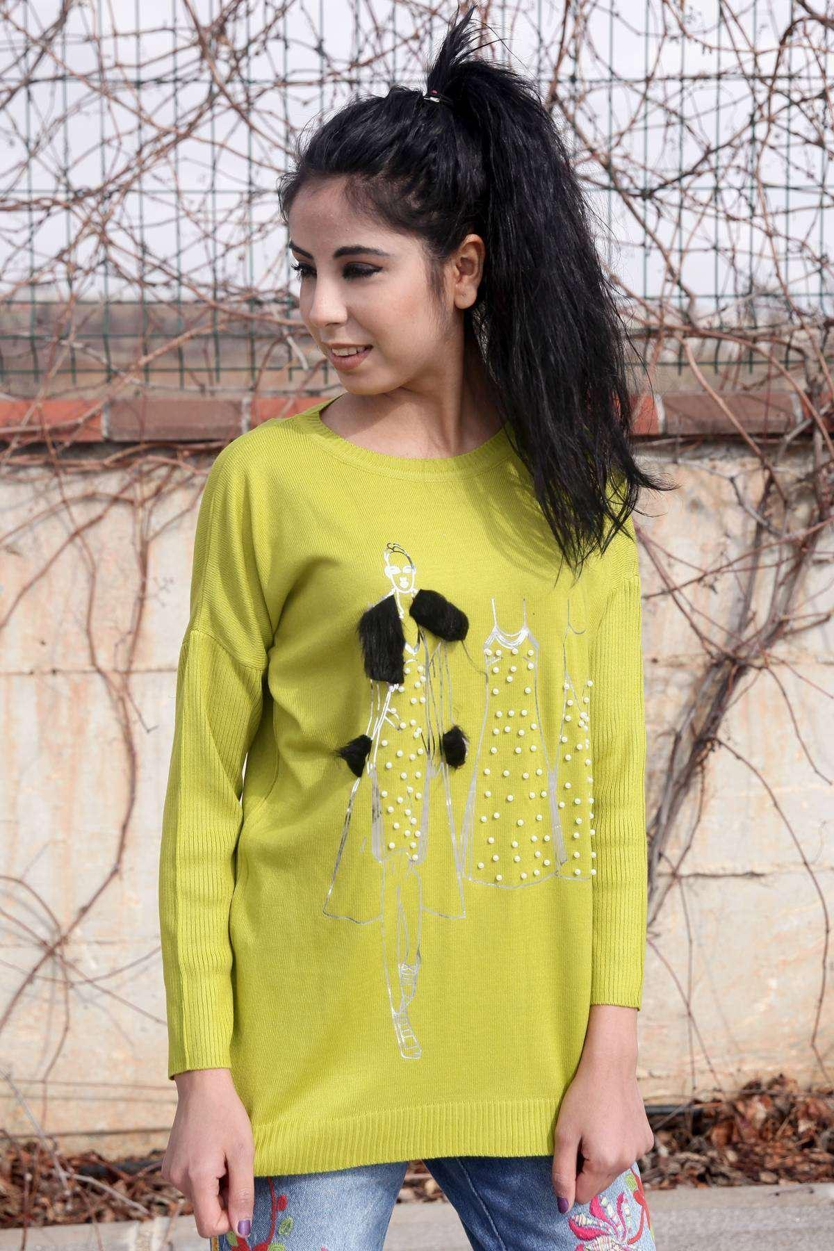 İnci Detaylı Tüylü İnsan Ve Elbise Baskılı Triko F.Yeşil