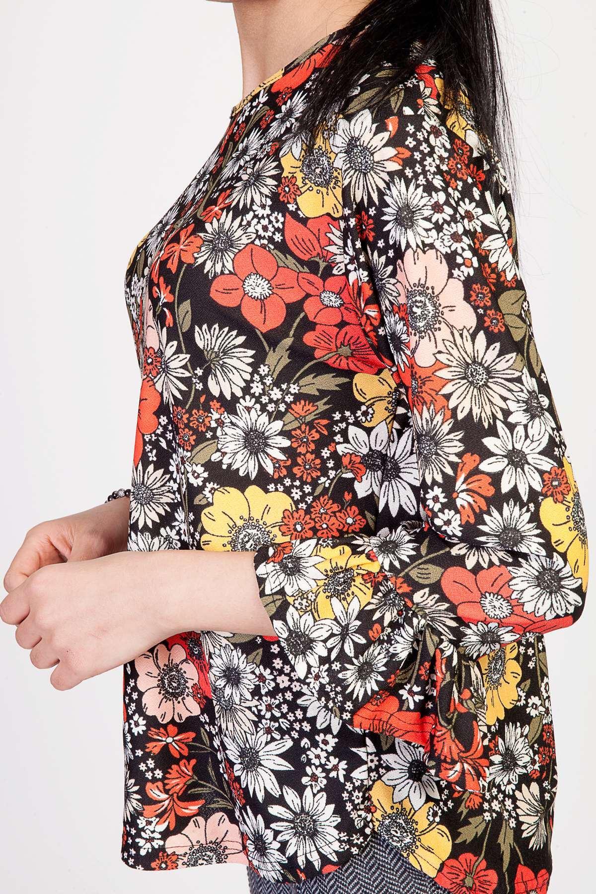 İspanyol Kol Detaylı Çiçek Desenli Bluz Siyah