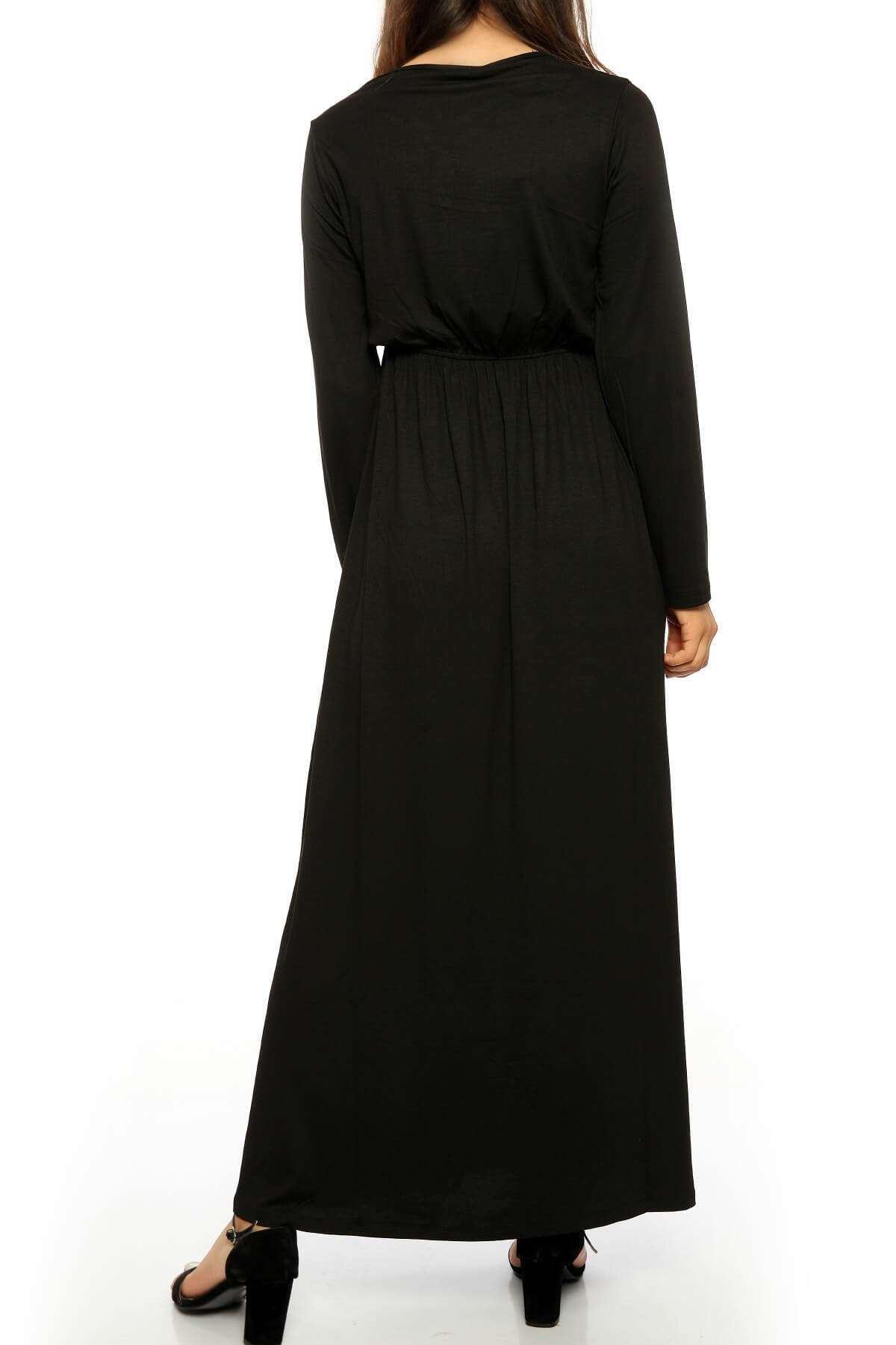 İşleme Desenli Büzdürmeli Uzun Elbise Siyah