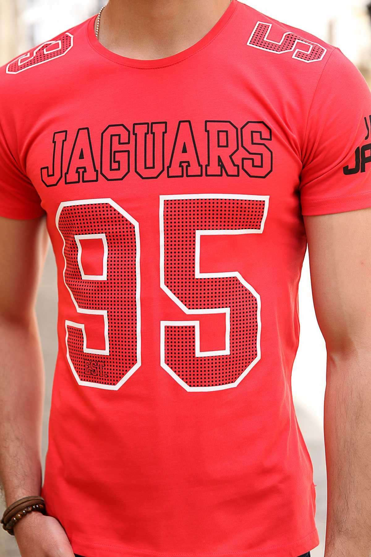Jaguars 95 Yazı Baskılı Sıfır Yaka Slim Fit Tişört Kırmızı