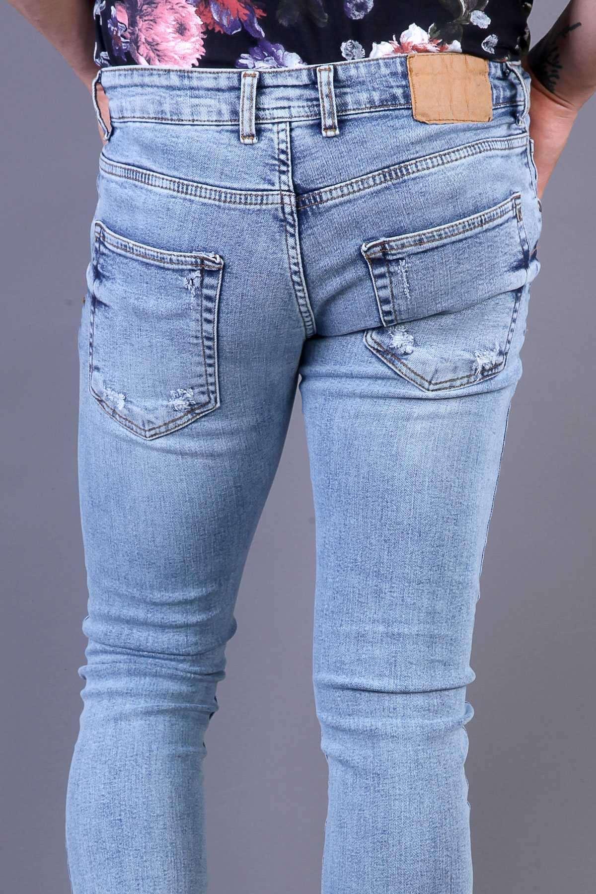 İp Yamalı Ful Taşlamalı Slim Fit Kot Pantolon Açık-Mavi