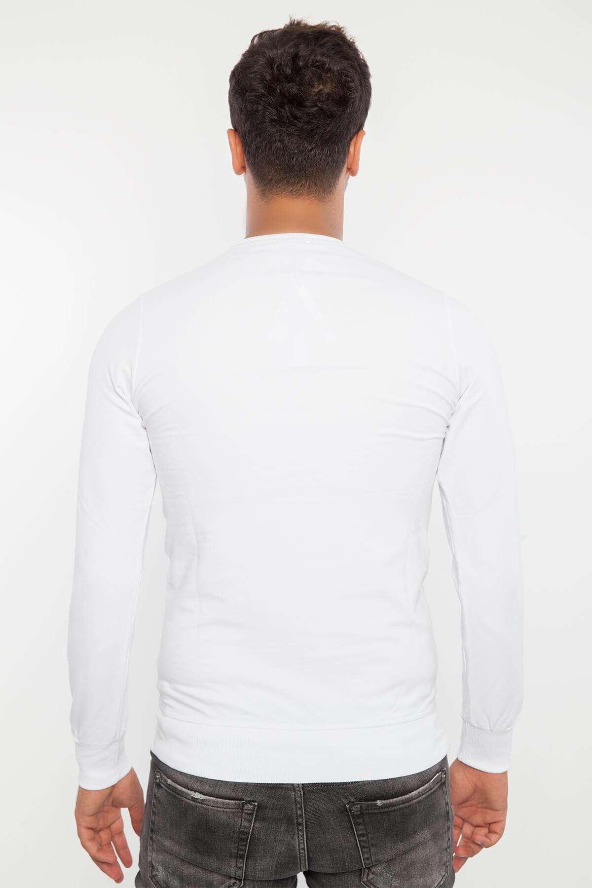 İnsan Portre Baskılı Sıfır Yaka Sweatshirt Beyaz
