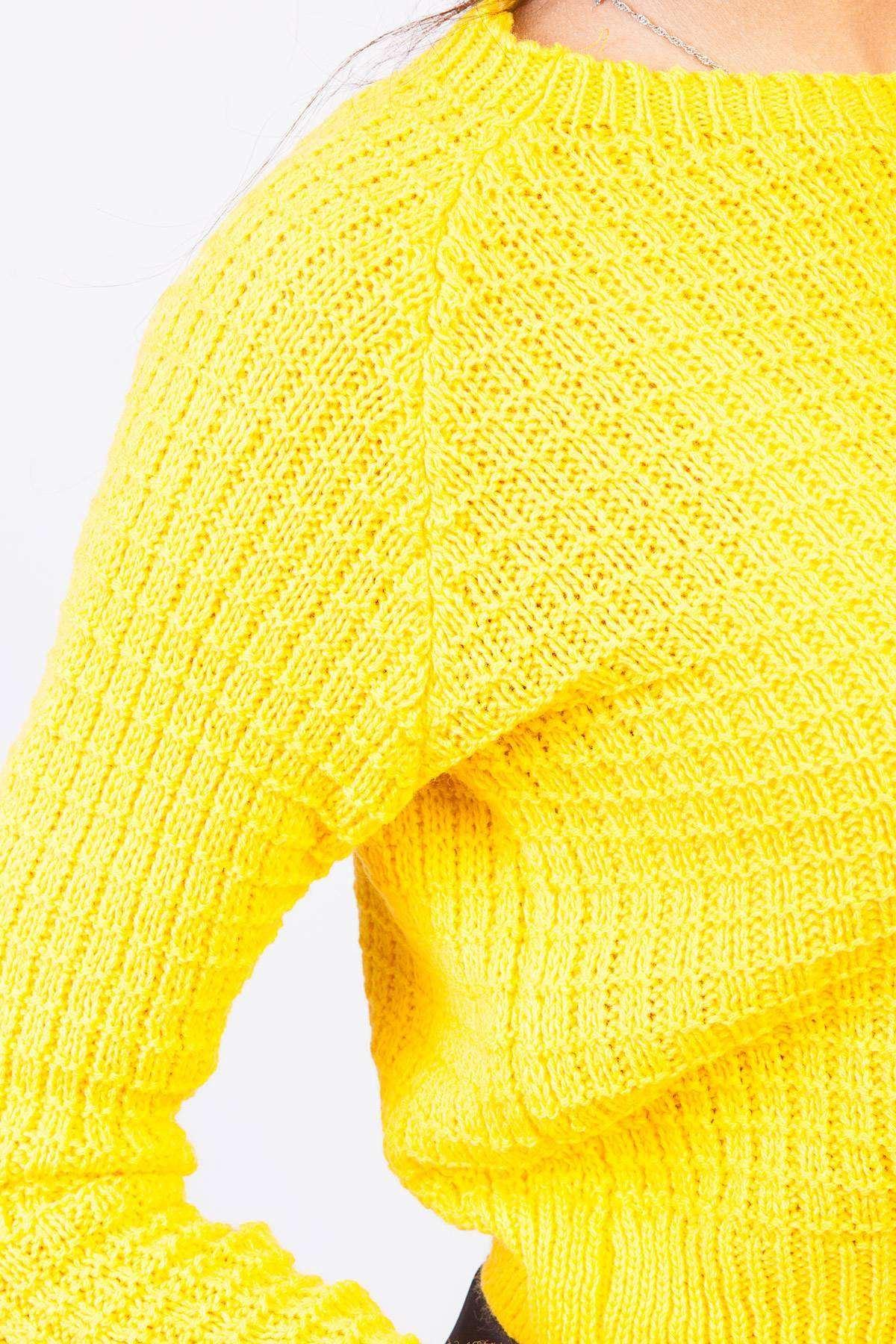 İtalyan Kesim Örme Desenli Kısa Triko Sarı