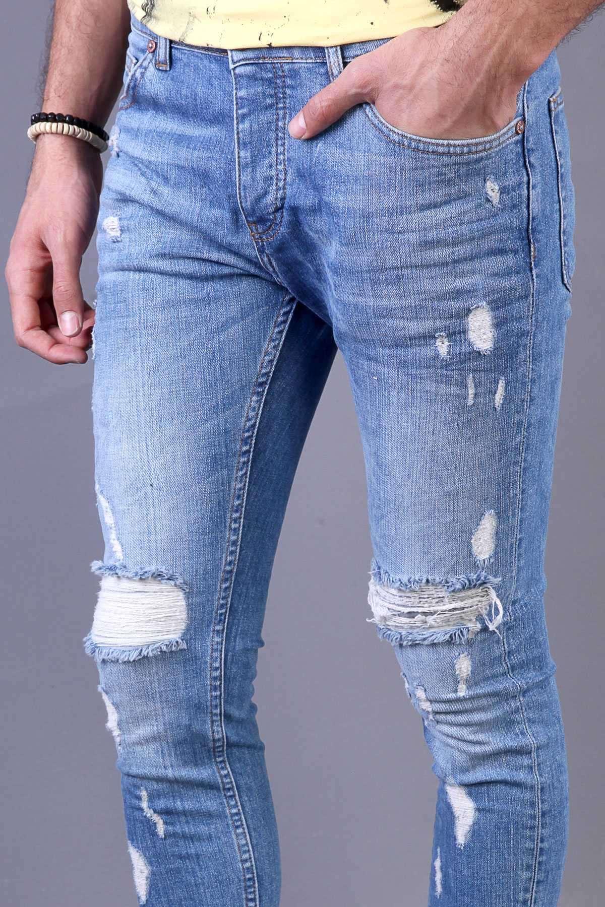 İp Yamalı Bilek Boy Slim Fit Kot Pantolon Mavi