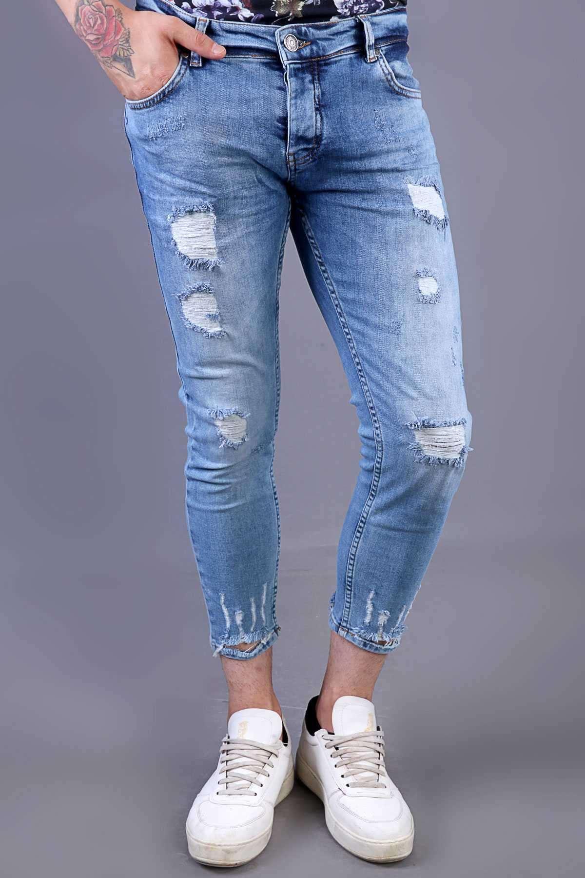İp Yamalı Taşlamalı Paça Ucu Yırtık Bilek Boy Kot Pantolon Mavi