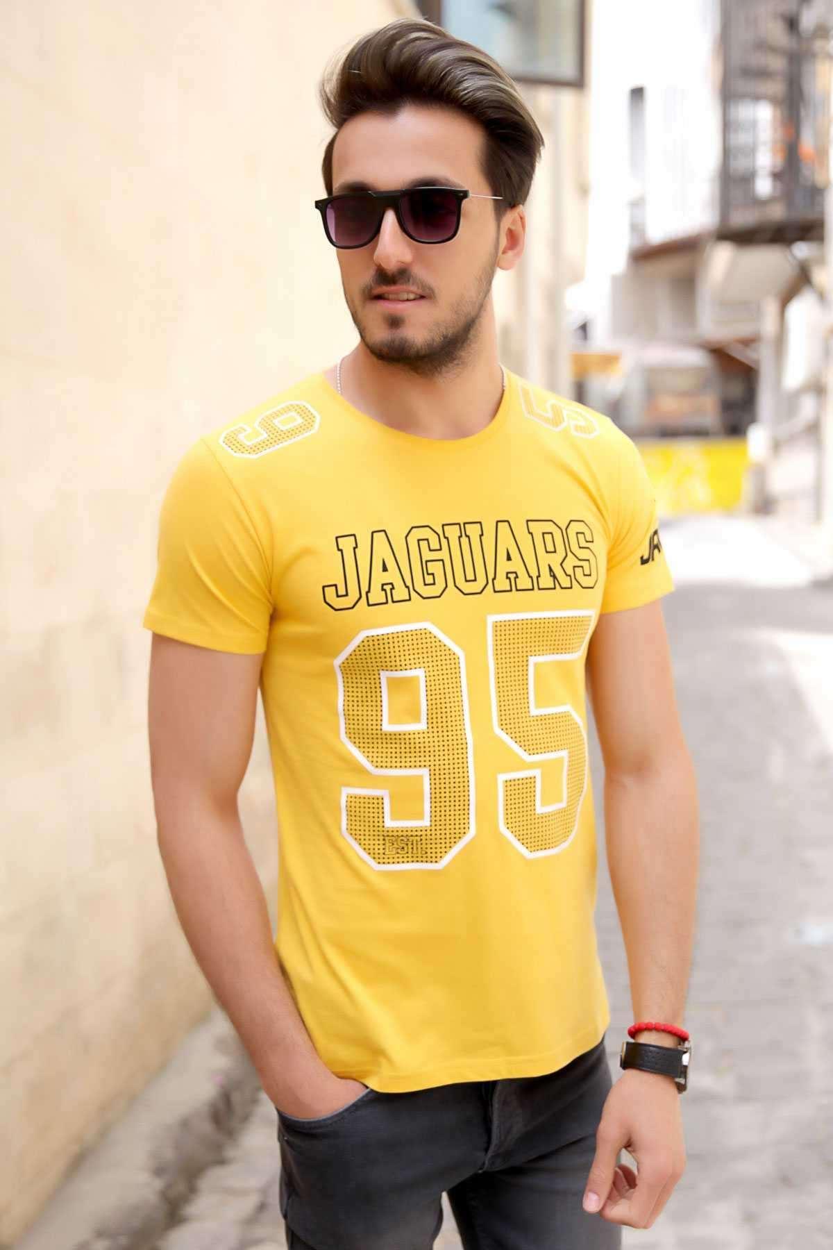 Jaguars 95 Yazı Baskılı Sıfır Yaka Slim Fit Tişört Sarı