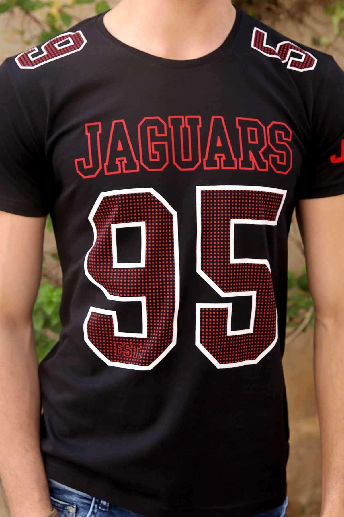 Jaguars 95 Yazı Baskılı Sıfır Yaka Slim Fit Tişört Siyah