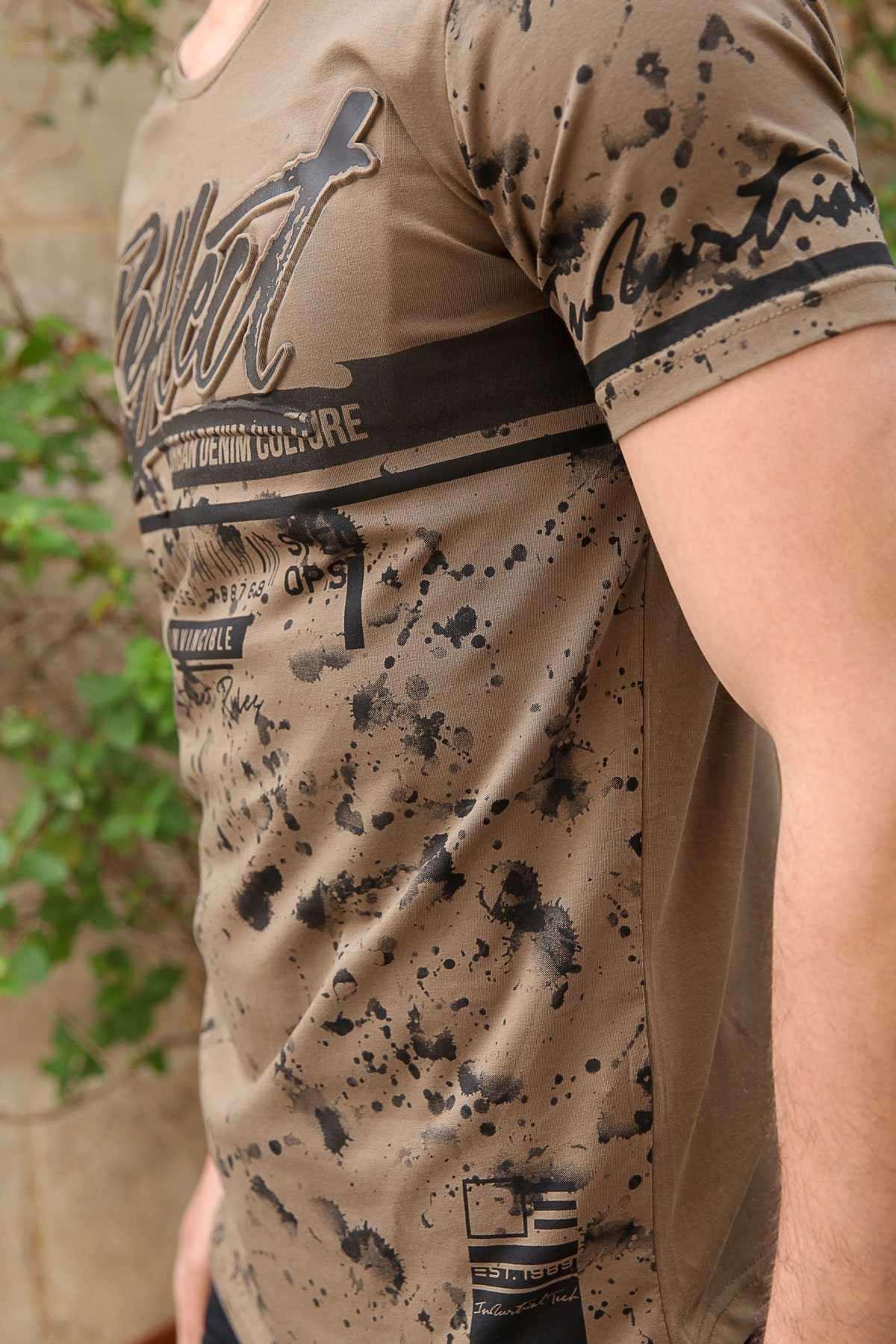 Kabartma Yazılı Sıçratma Boya Baskılı Slim Fit Tişört Haki