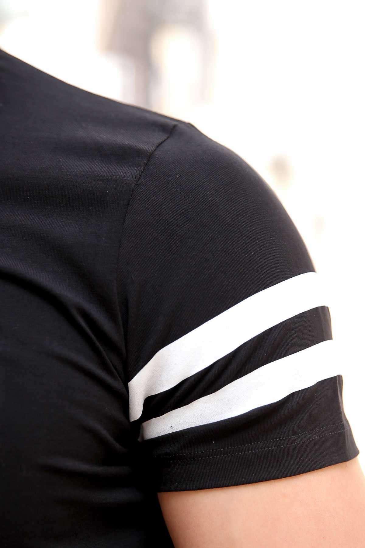 Kabartma Original Yazılı Boucuklu Kol Şeritli Slim Fit Tişört Siyah