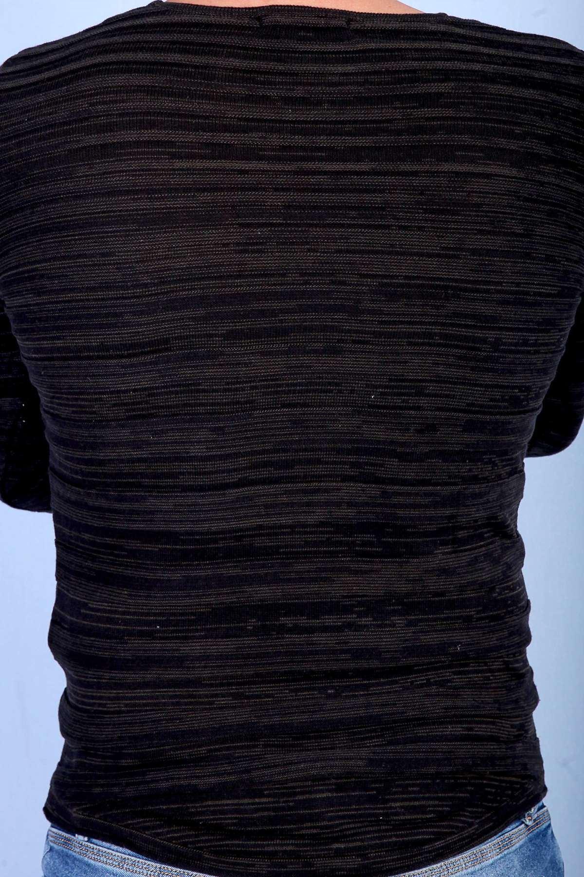Kabartmalı Simit Yaka Triko Siyah