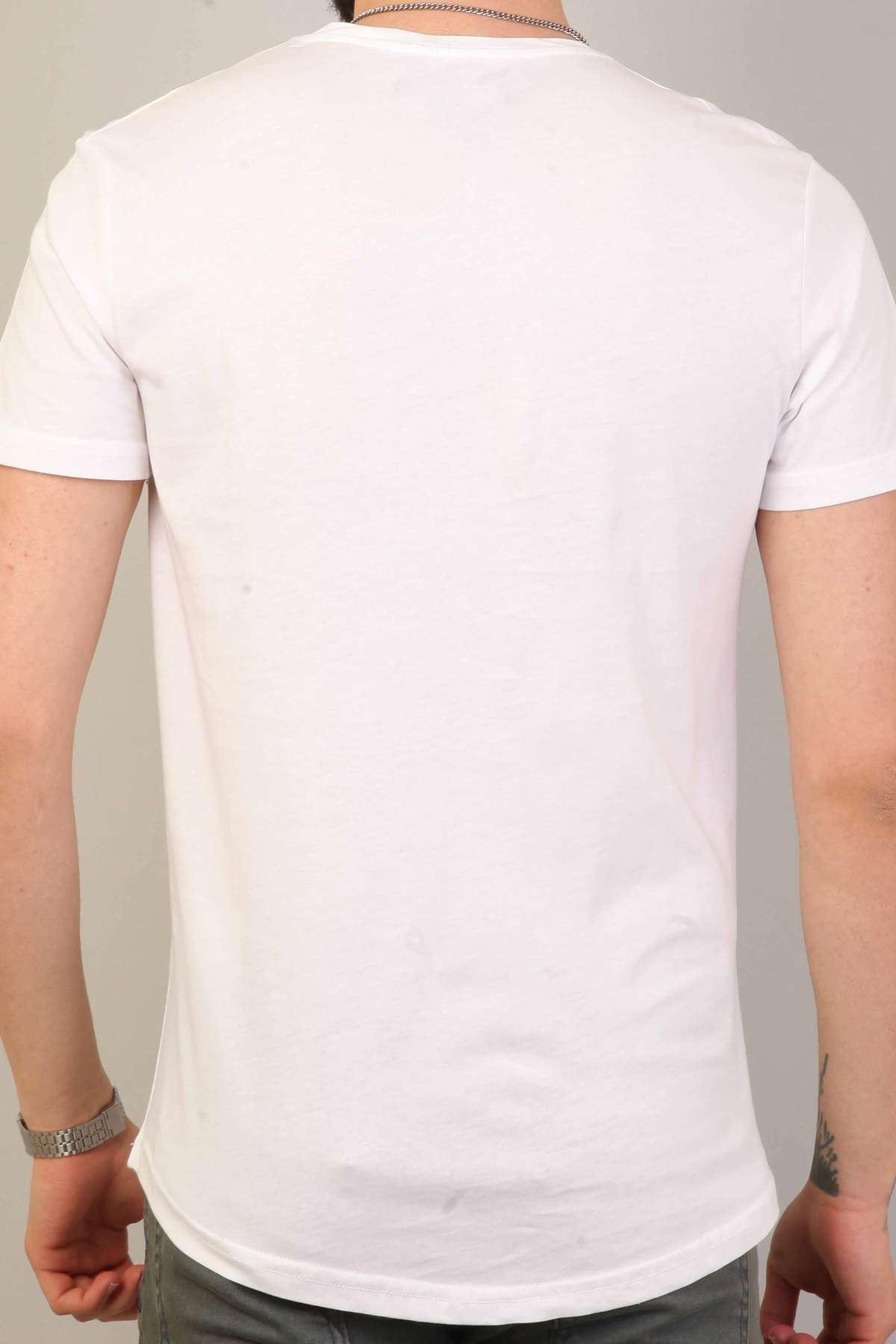 Kaplan Baskılı Yazılı Silim Fit Sıfır Yaka Tişört Beyaz