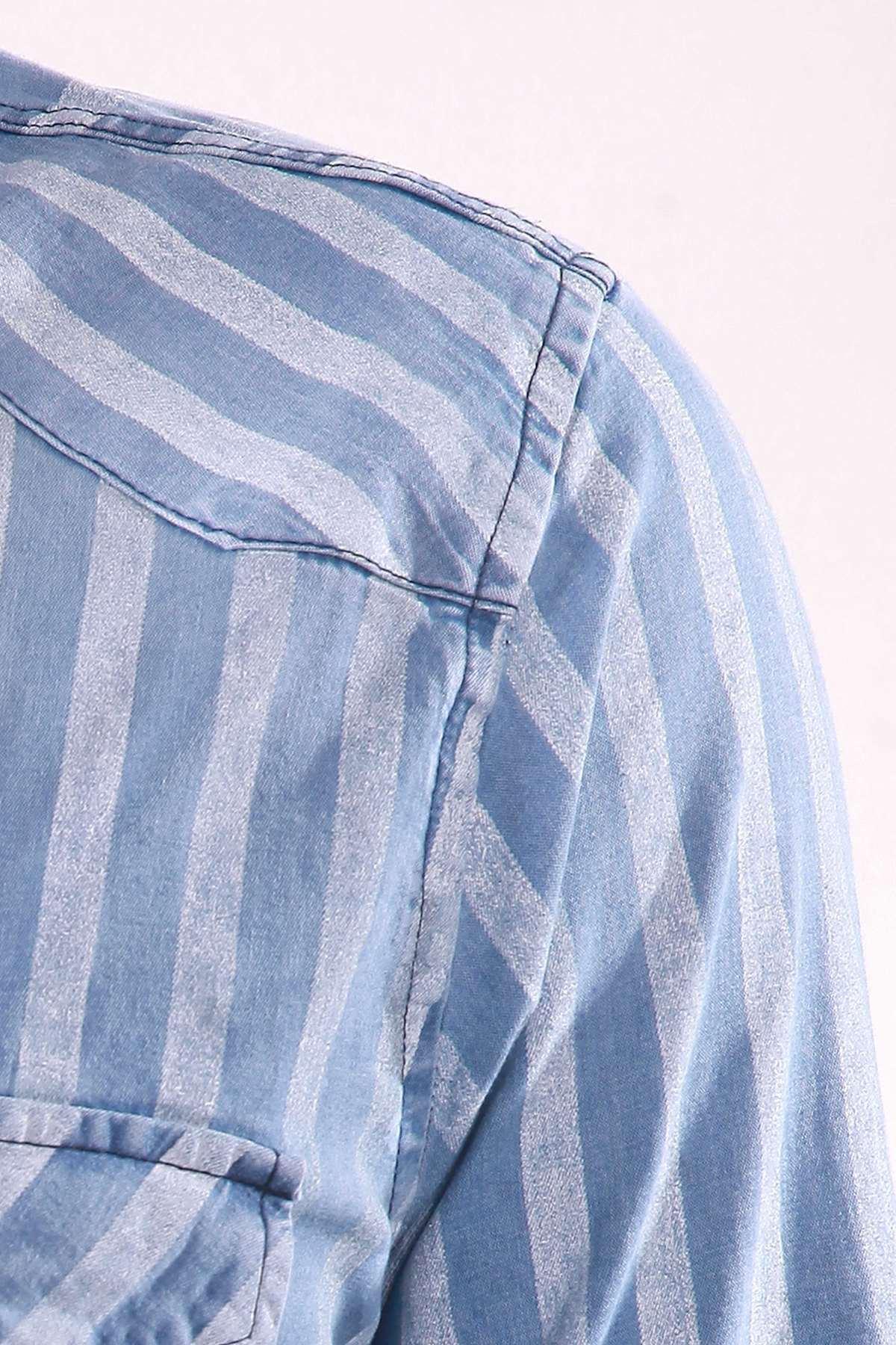 Kalın Çizgili Etek Ucu Püsküllü Kot Gömlek B.Mavi