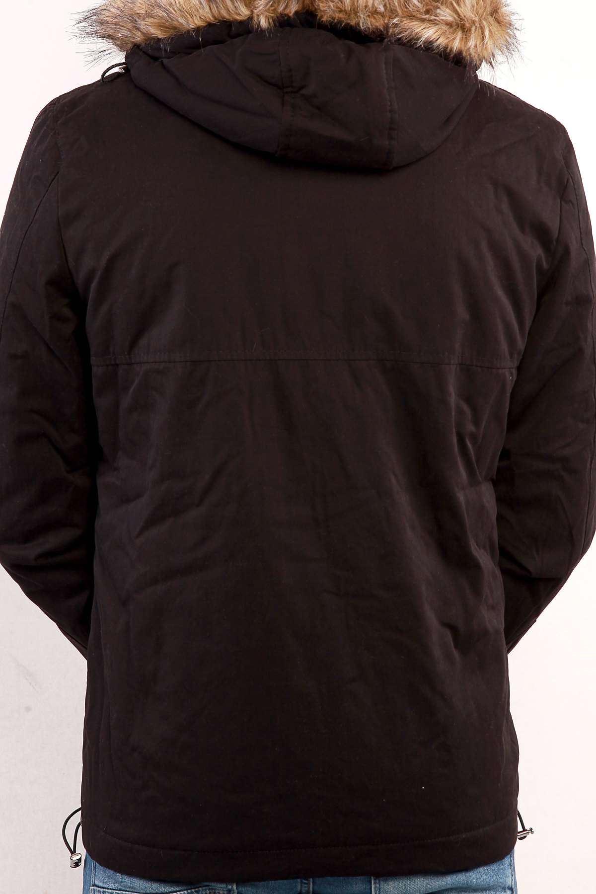 Kapşon Kürklü Çıtçıt Cepli Boydan Fermuarlı Mont Siyah
