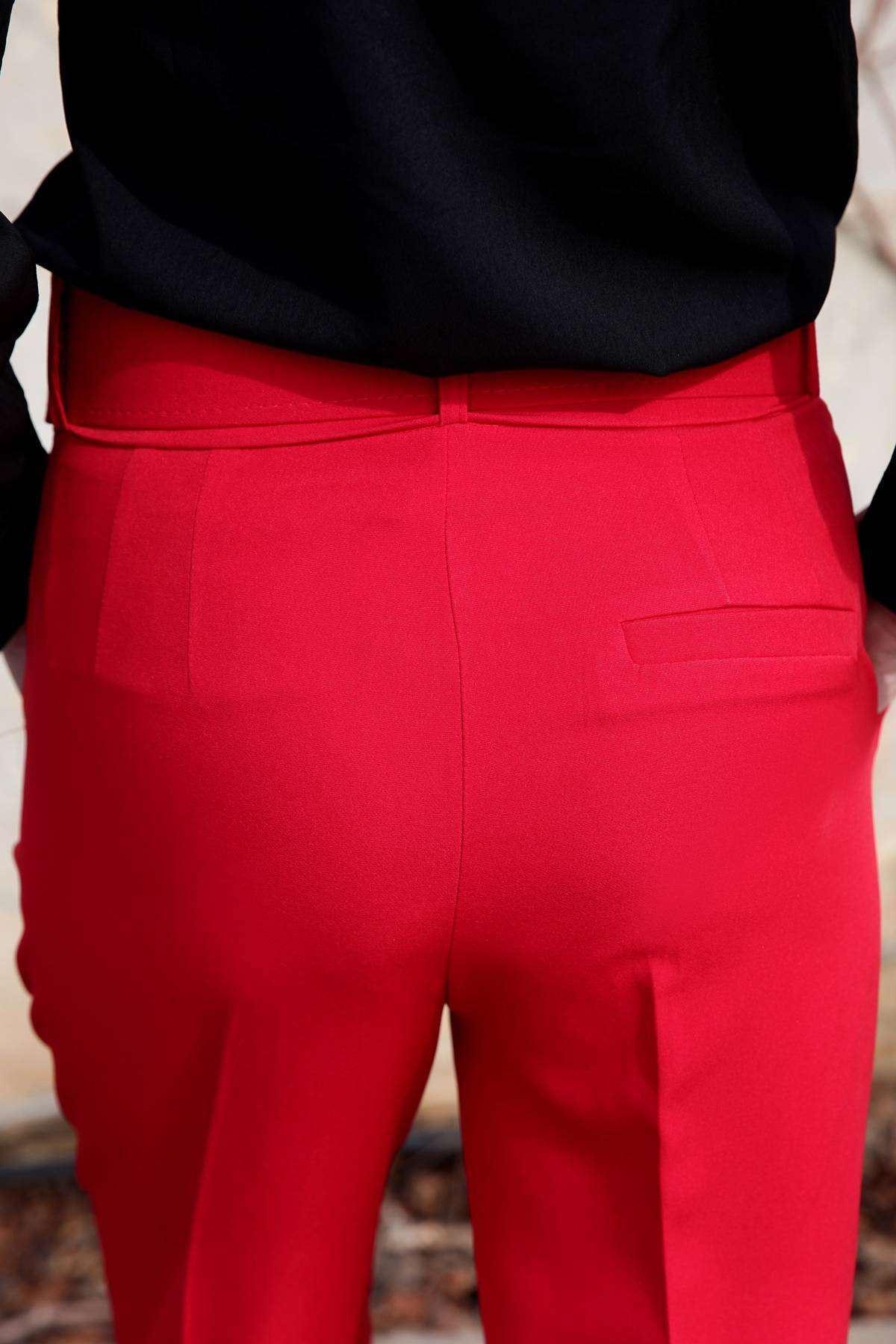 Kaplama Kemer Detaylı Çift Cep Pantolon Kırmızı