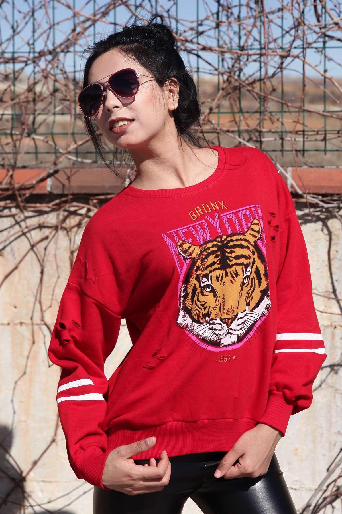 Kaplan Baskı Detaylı Kol Şeritli Simit Yaka Sweatshirt Kırmızı