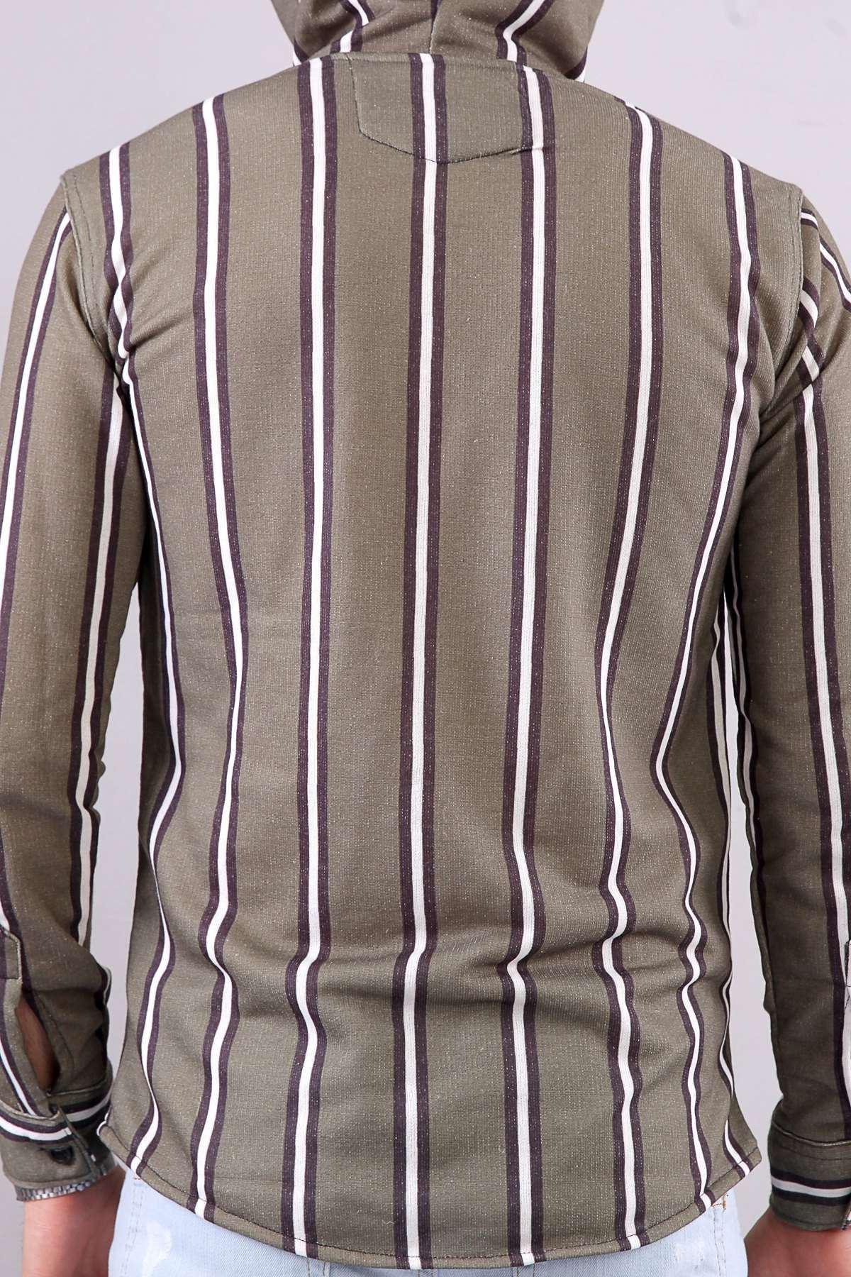 Kapşonlu Boydan Fermuarlı Sweat Gömlek Haki