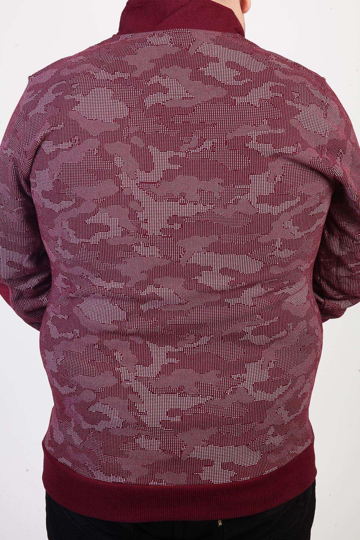 Kamuflaj Desenli Yarı Fermuarlı Süper Battal Sweatshirt Bordo