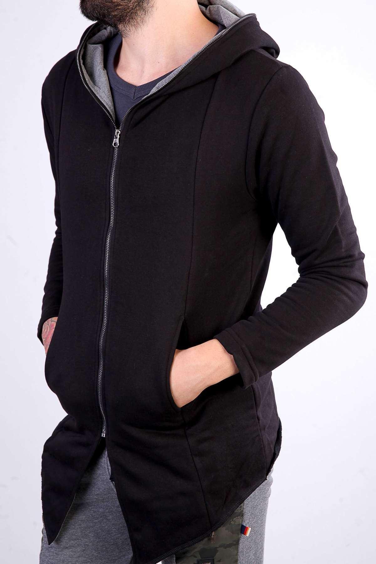 Kapşonlu Boydan Fermuarlı Sweatshirt Siyah