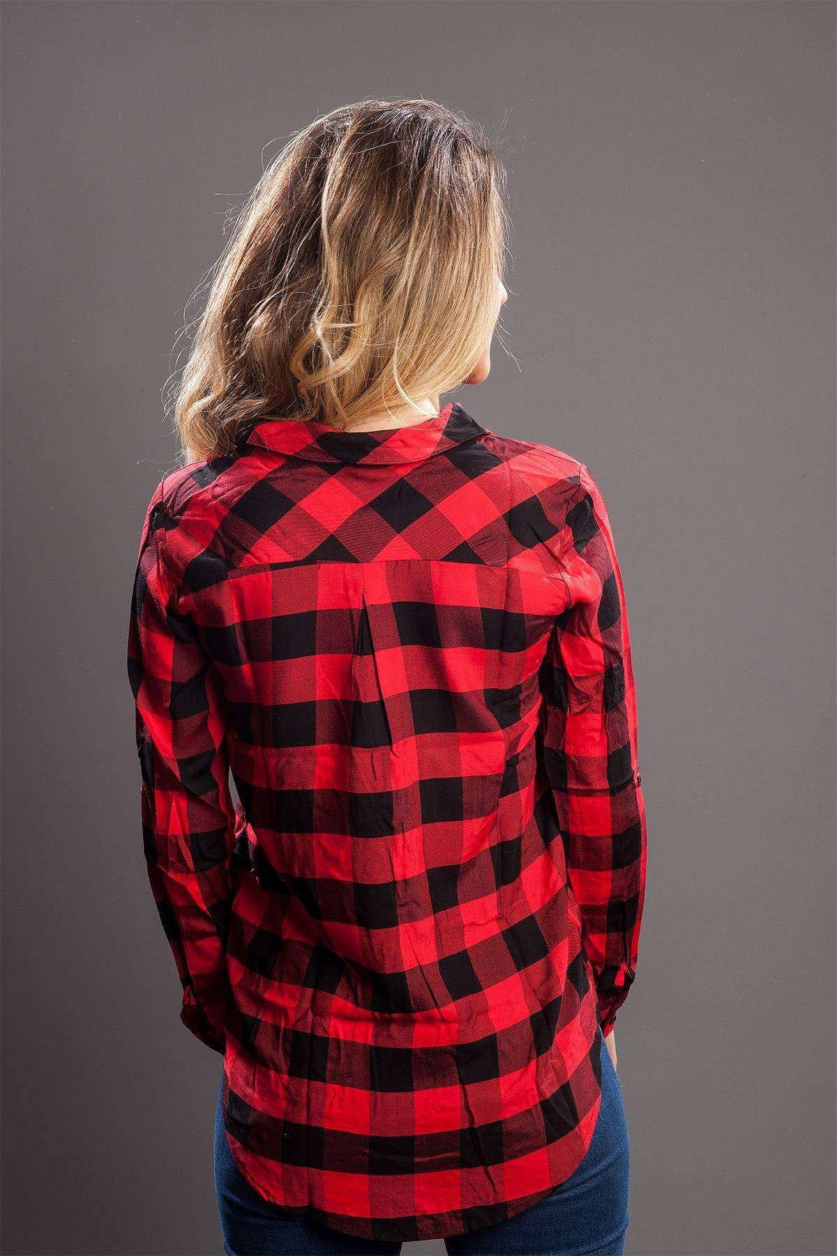 Kare Desenli Uzun Gömlek Kırmızı