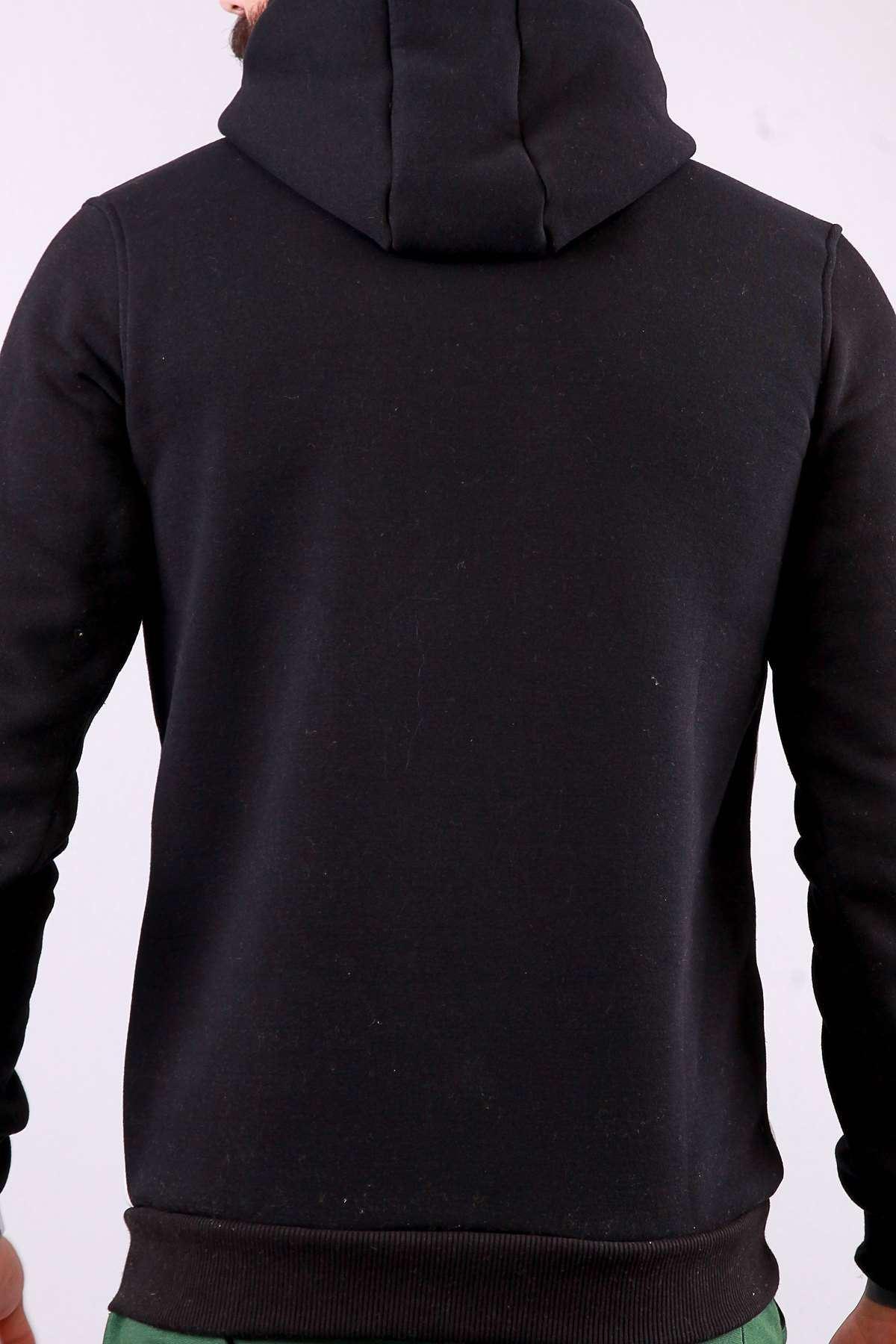 Kapşonlu Karmaten Baskılı Kanguru Cepli Sweatshirt Siyah-Beyaz