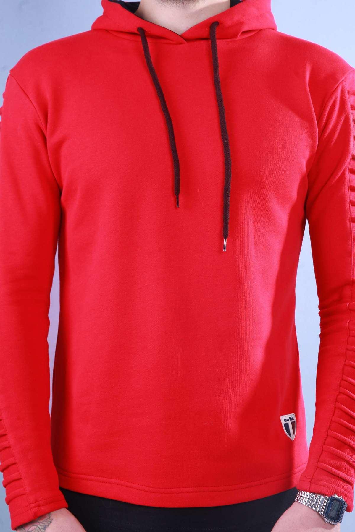Kapşonlu Kol Nervürlü Sweatshırt Kırmızı