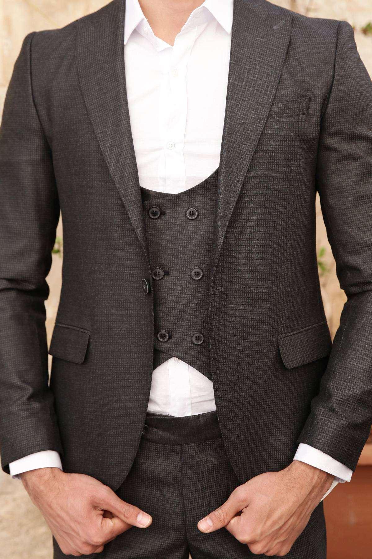 Kare Desenli Pantolon-Yelek-Ceket Üçlü Takım Antrasit