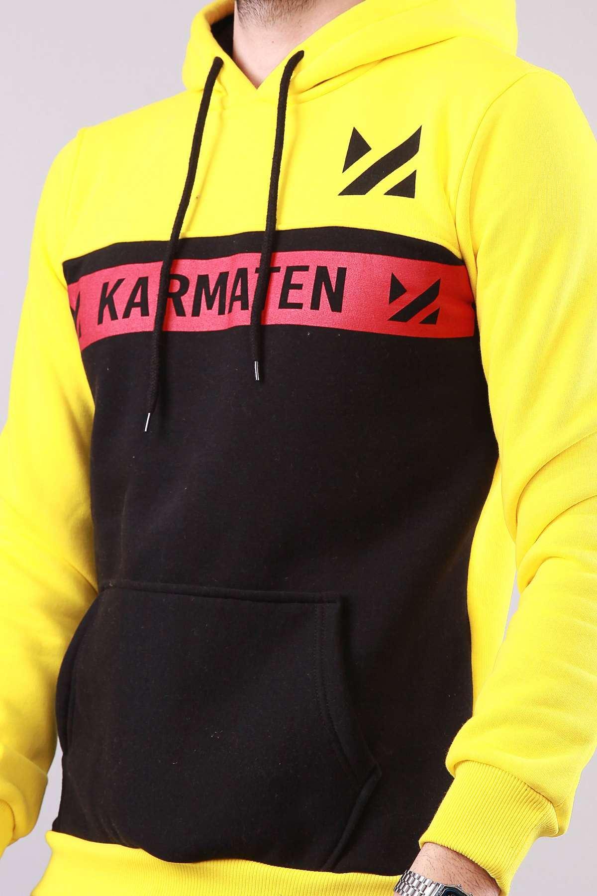 Kapşonlu Karmaten Baskılı Kanguru Cepli Sweatshirt Sarı