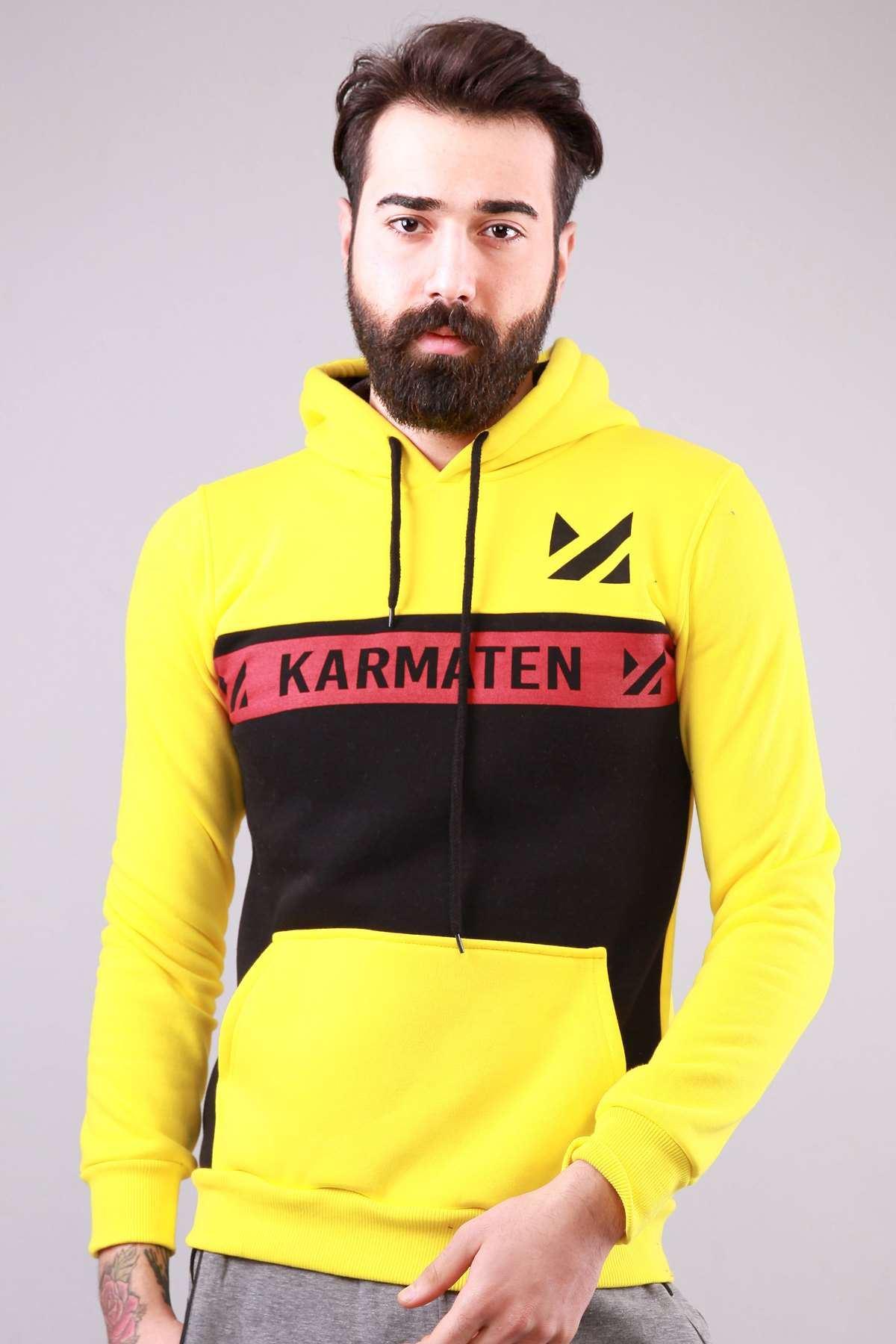 Kapşonlu Karmaten Baskılı Kanguru Cepli Sweatshirt Sarı-Siyah
