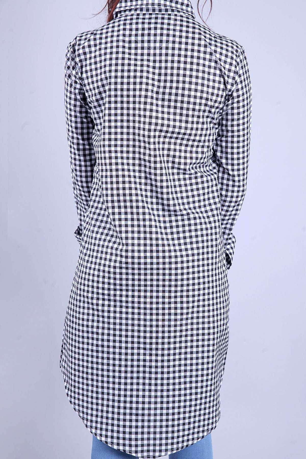 Kare Desenli Çift Renkli Slim Fit Tunik Siyah-Beyaz