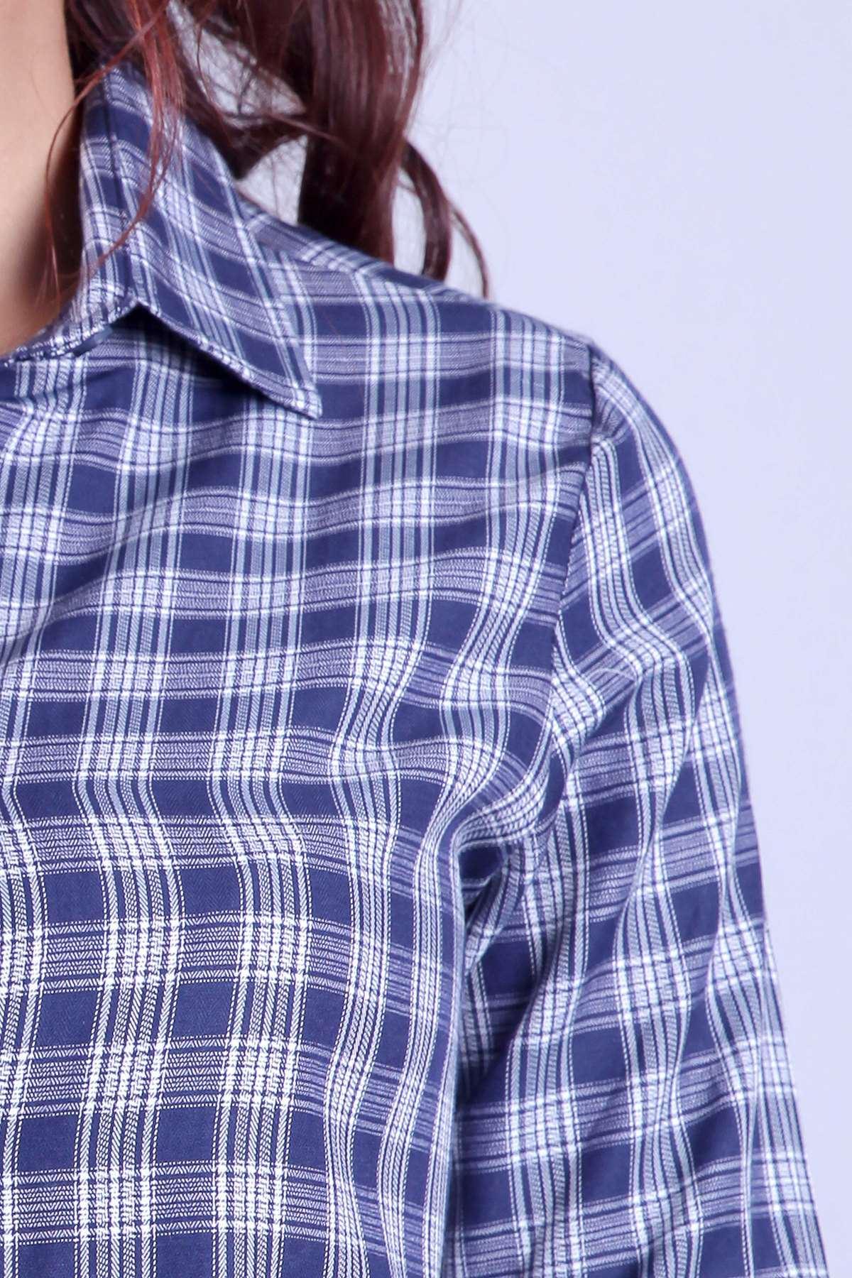 Kareli Bel Bağcıklı İki Renkli Tunik Lacivert-Beyaz