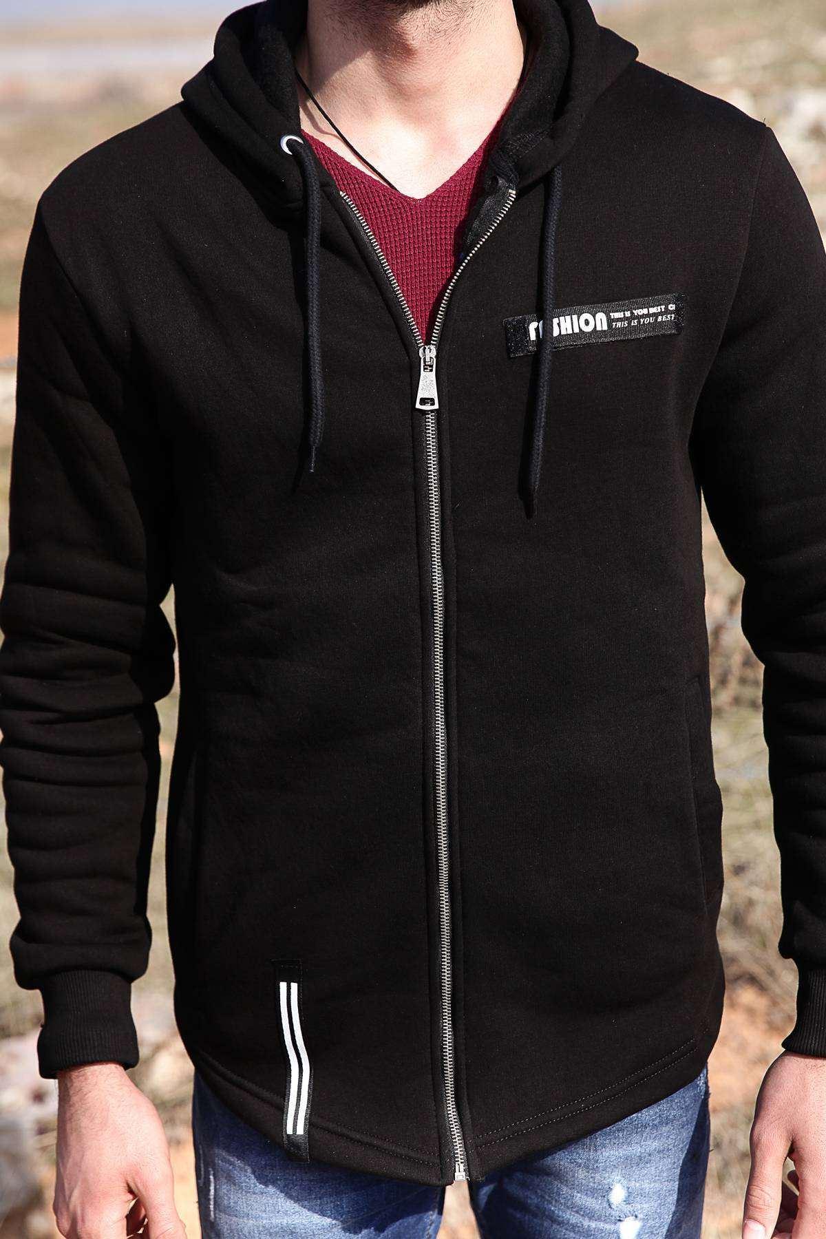 Kapşonlu İçin Yünlü Sweatshirt Siyah