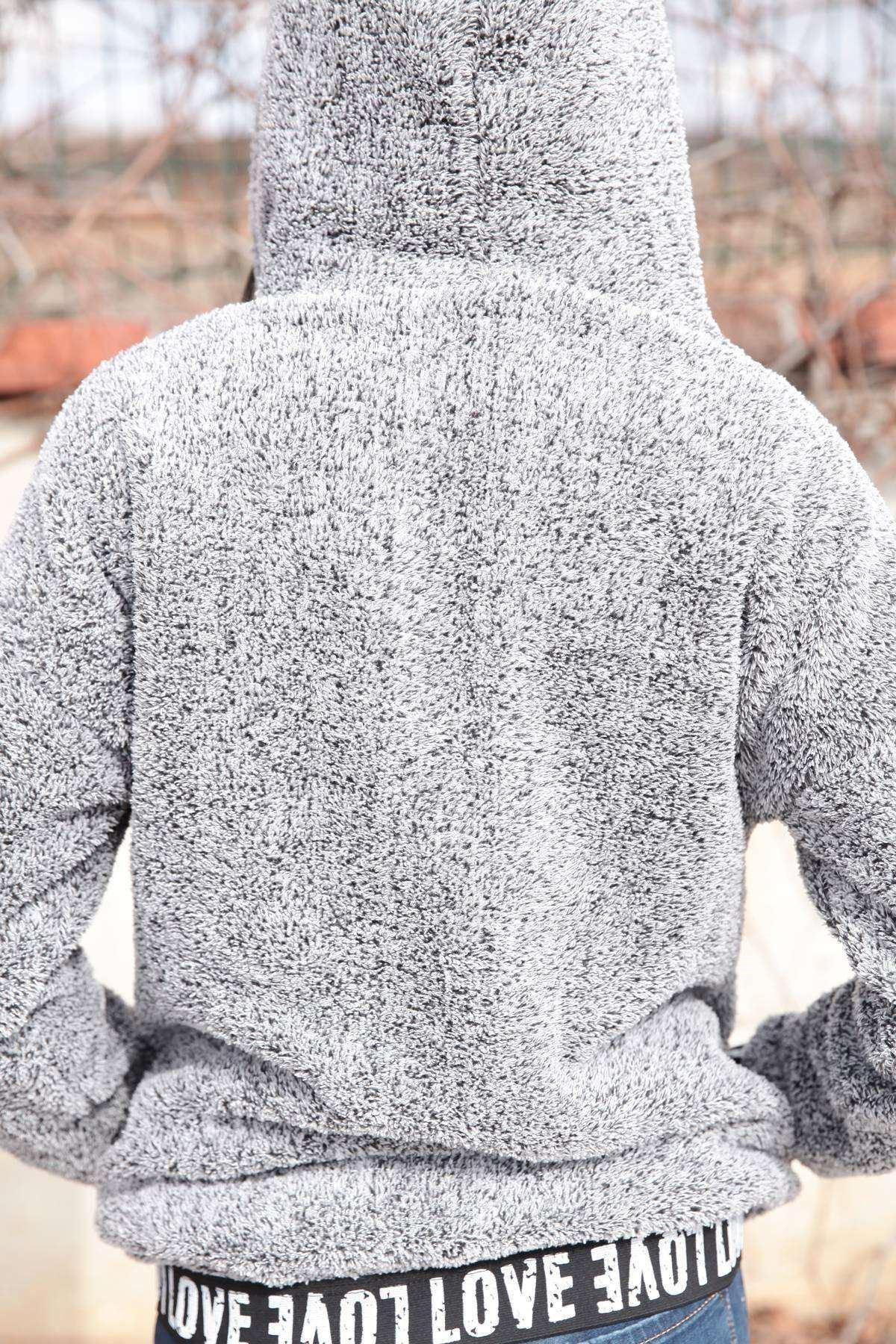 Kapşonlu Love Yazılı Yumoş Sweatshirt Gri
