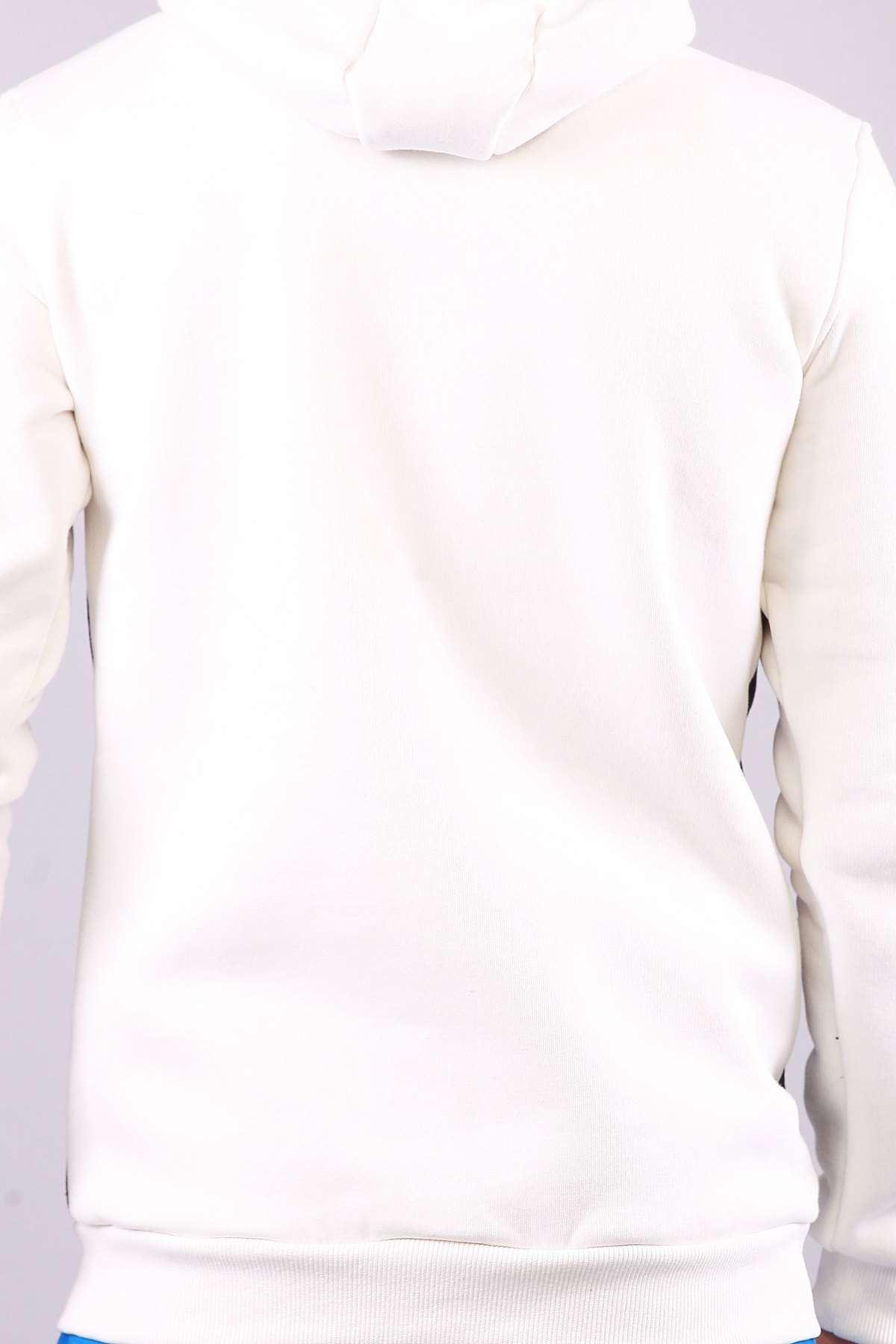 Kapşonlu Karmaten Baskılı Kanguru Cepli Sweatshirt Beyaz