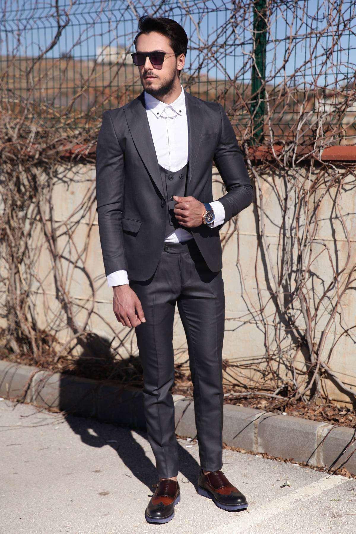 Kare Desenli Pantolon-Yelek-Ceket Üçlü Takım Füme
