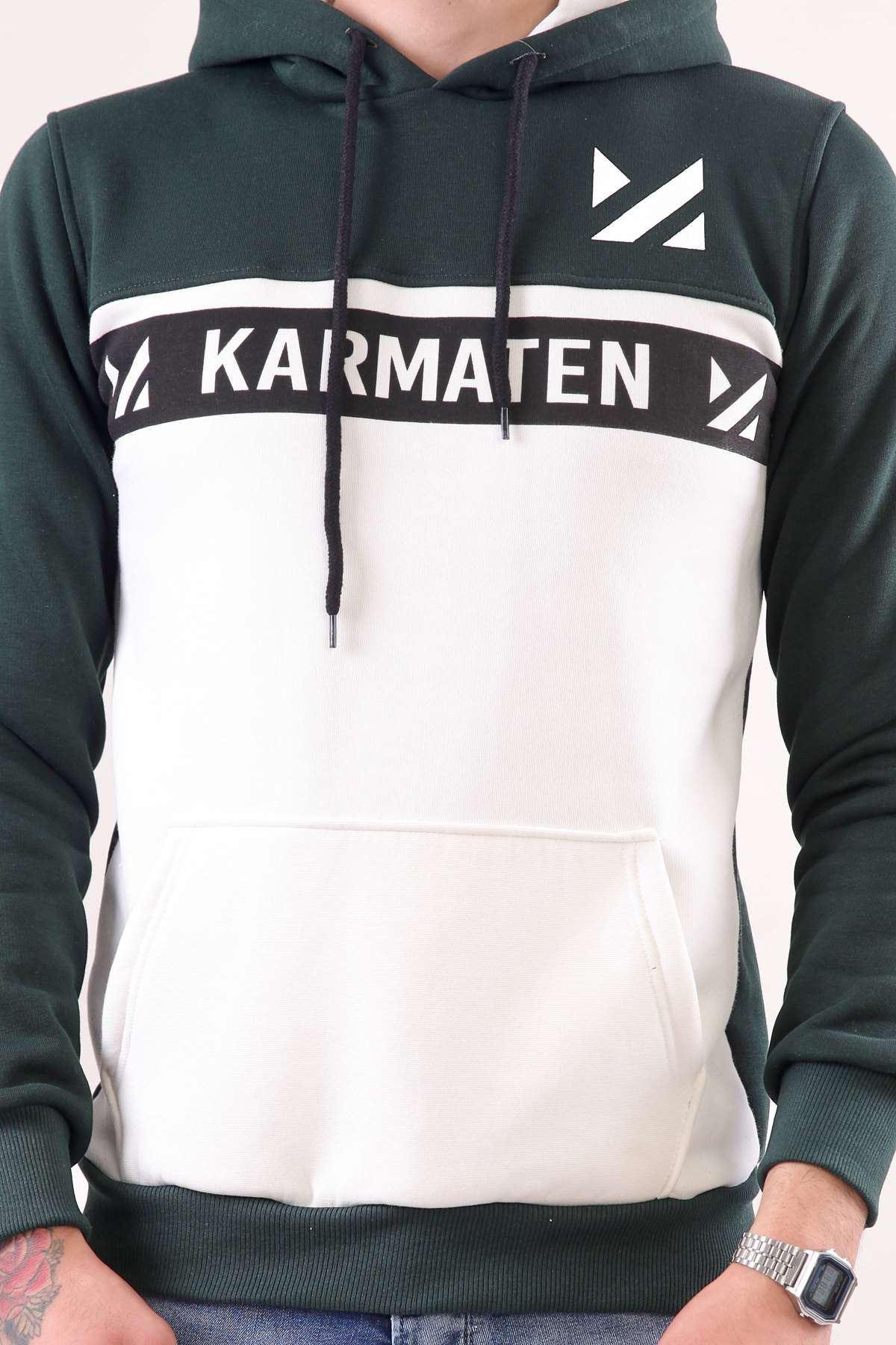 Kapşonlu Karmaten Baskılı Kanguru Cepli Sweatshirt Koyu Yeşil-Beyaz