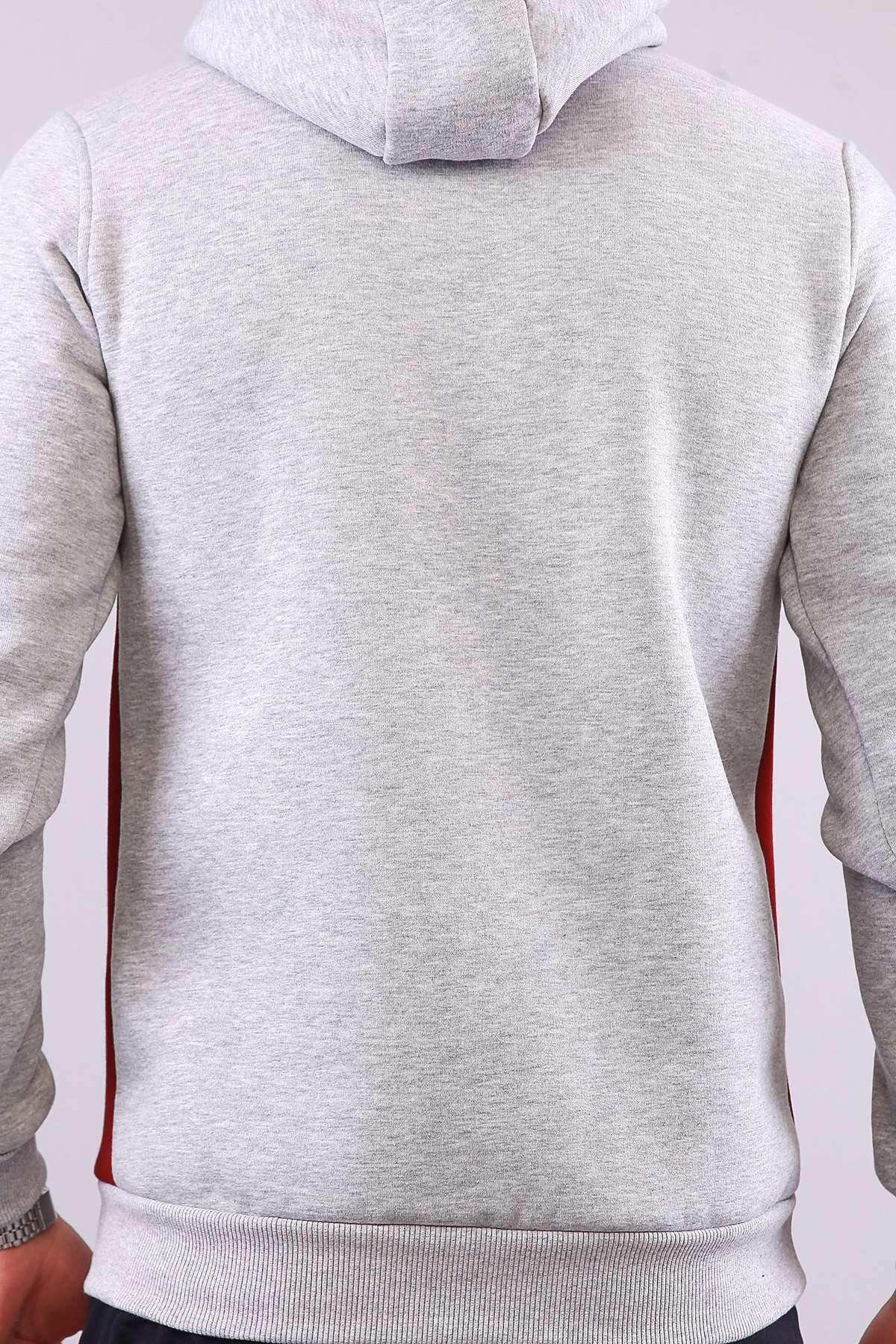 Kapşonlu Karmaten Baskılı Kanguru Cepli Sweatshirt Gri-Bordo