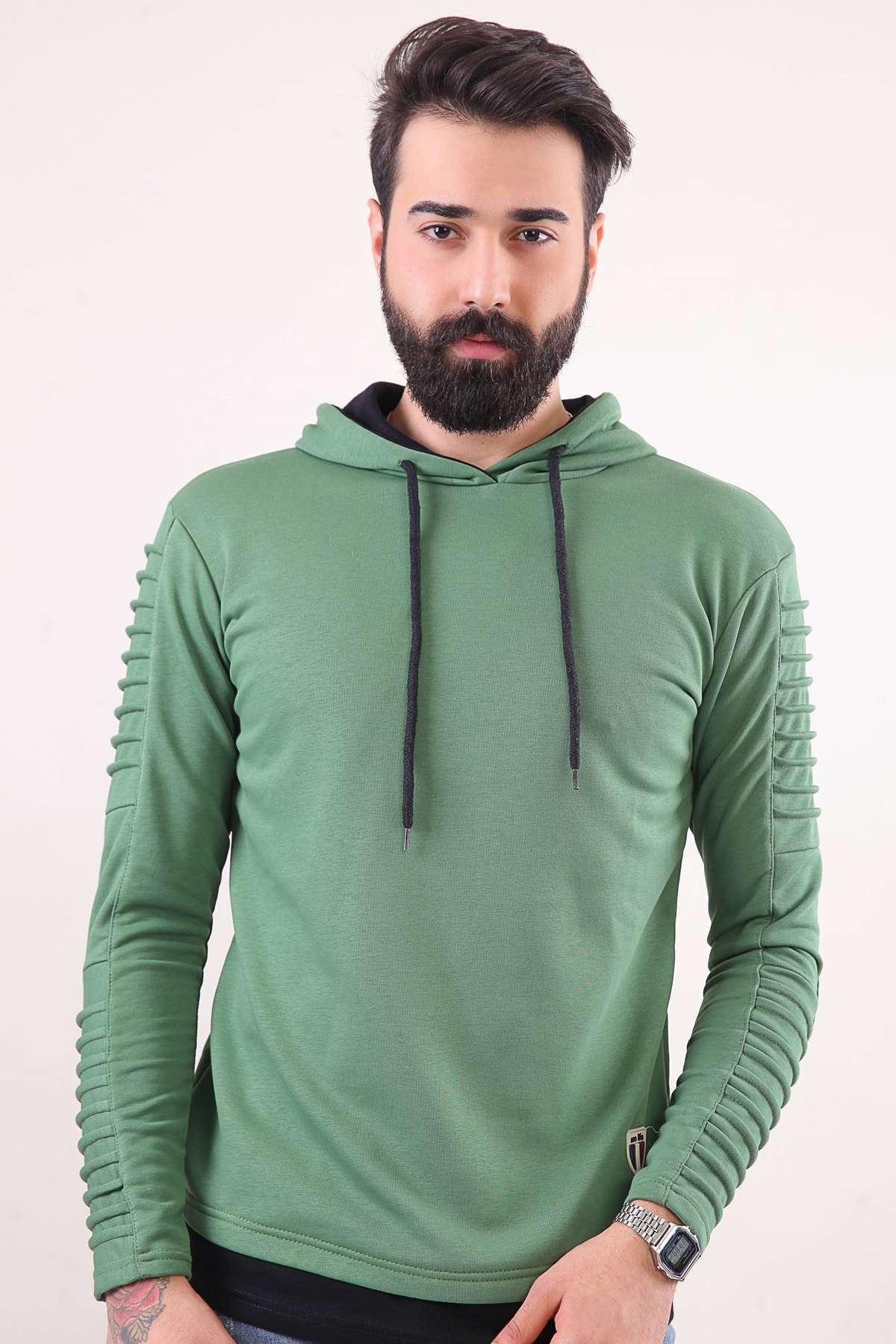 Kapşonlu Kol Nervürlü Sweatshırt Açık-Yeşil