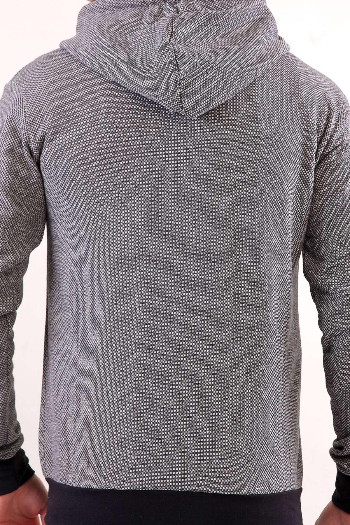 Kapşonlu Göğüs Armalı İki Renk Sweatshırt Antrasit-Beyaz