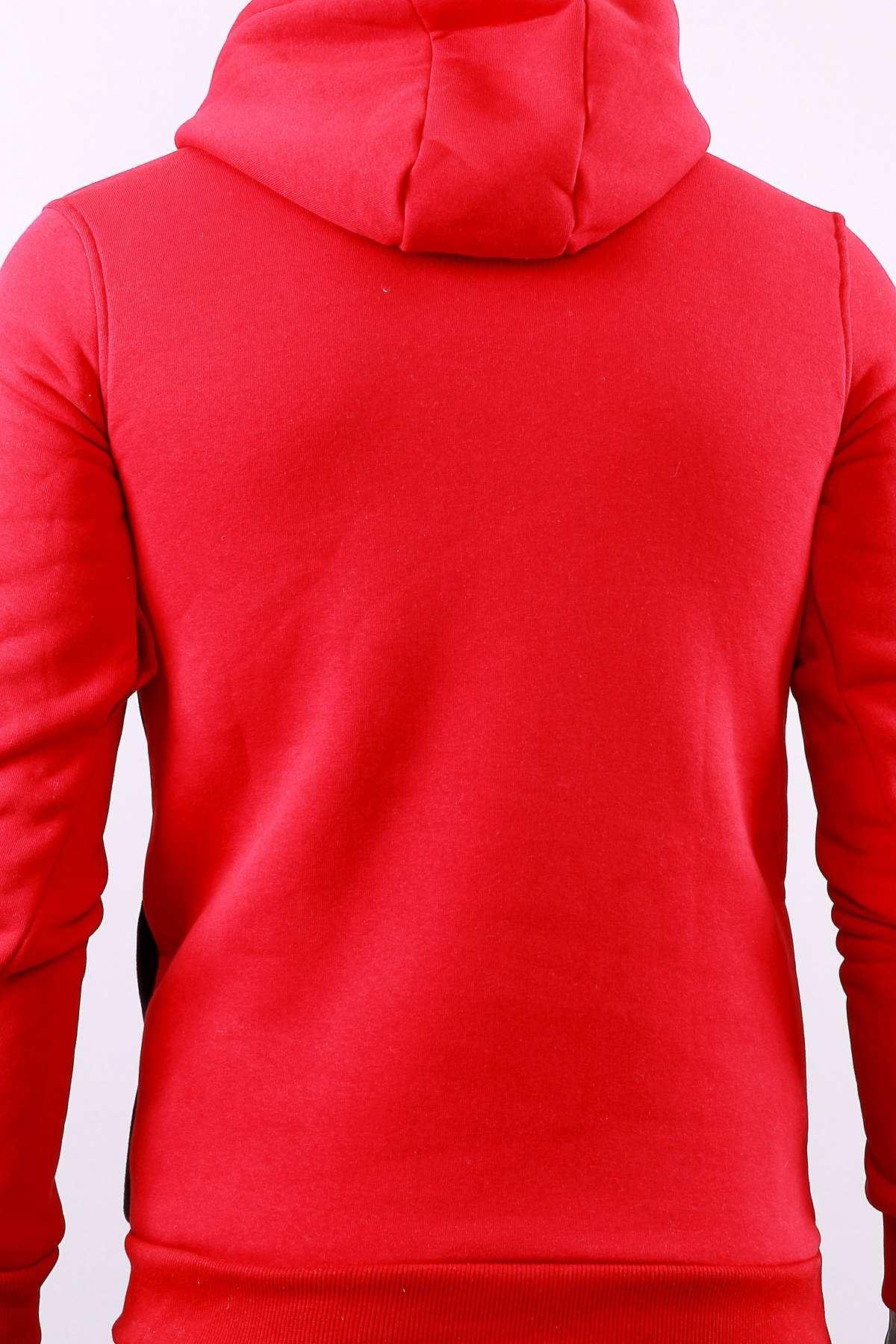Kapşonlu Karmaten Baskılı Kanguru Cepli Sweatshirt Kırmızı