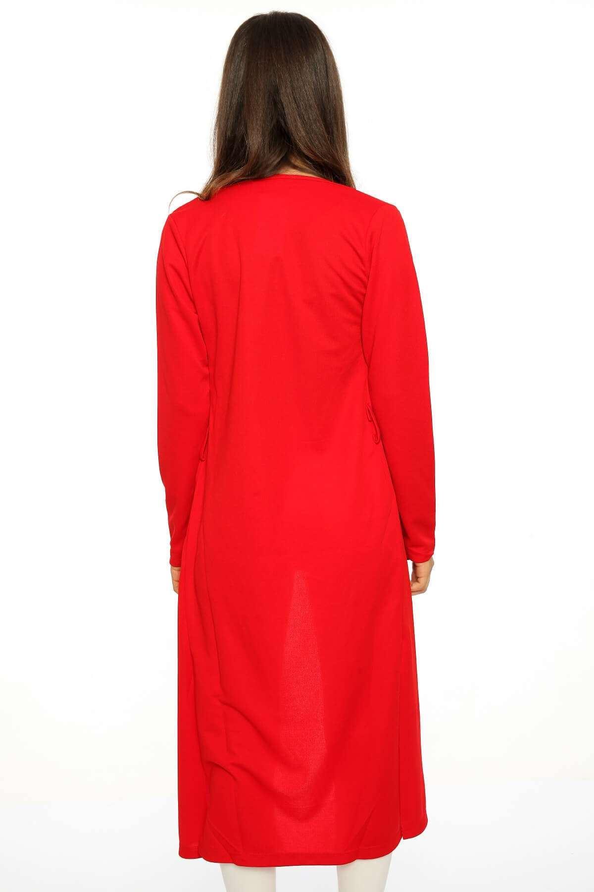 Kemer Detaylı Basic Uzun Hırka Kırmızı