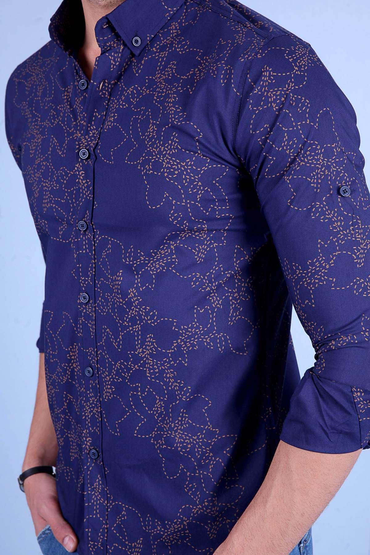 Kesik Çizgili Çiçek Desenli Uzun Kol Slim Fit Gömlek Lacivert-Bej