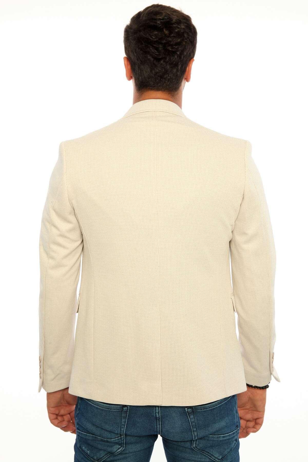 Kazayağı Desenli Ceket Bej
