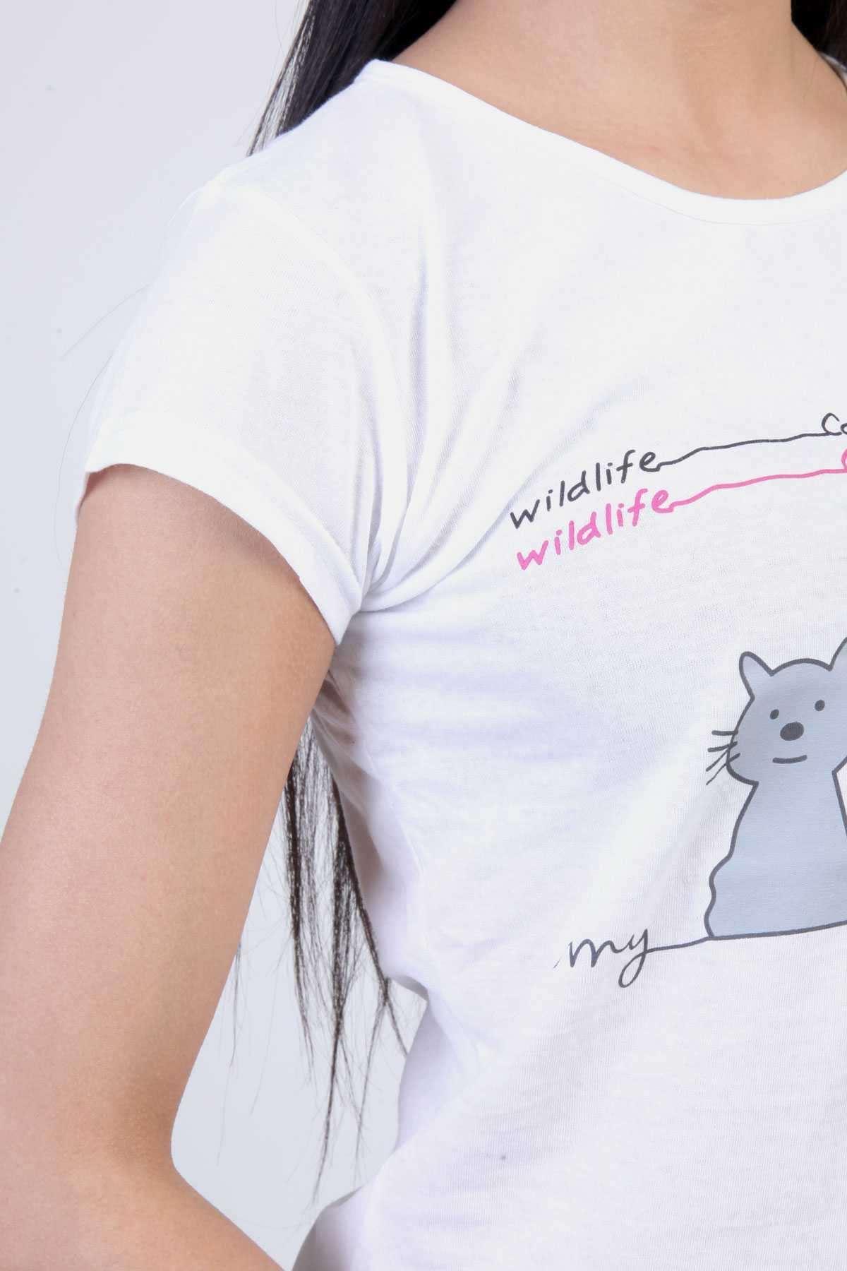 Kedi Baskılı Yazılı Kısa Şortlu Pijama Takımı Beyaz-Fuşya