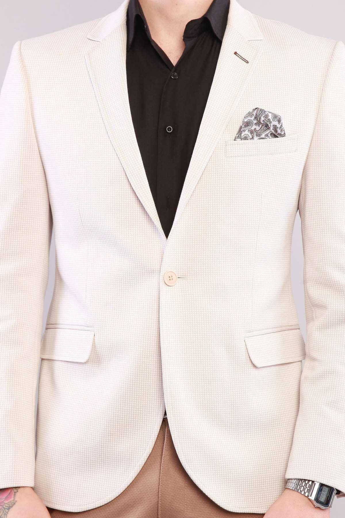 Kaz Ayağı Likralı İtalyan Kesim Ceket Vizon