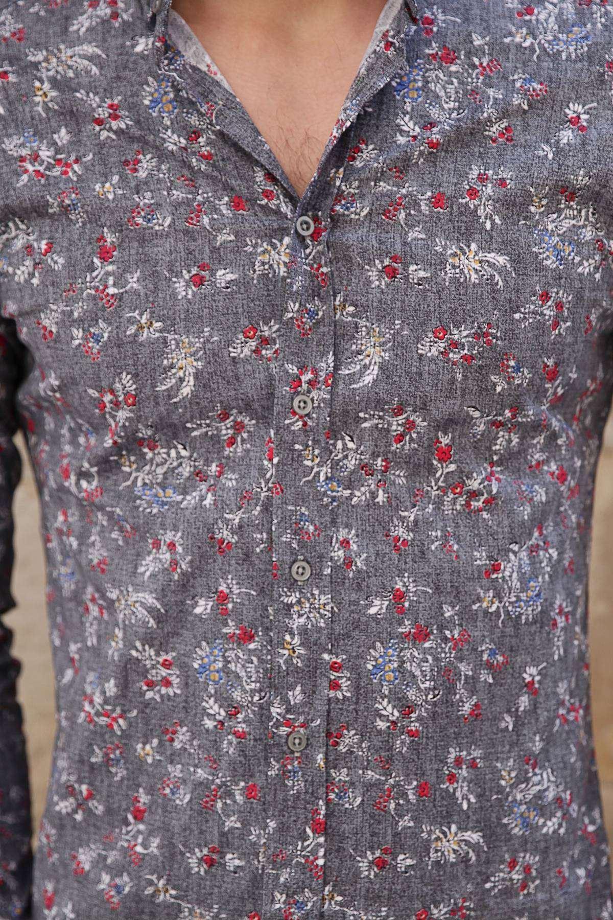 Kırmızı Çiçek Baskı Desenli Slim Fit Gömlek Füme