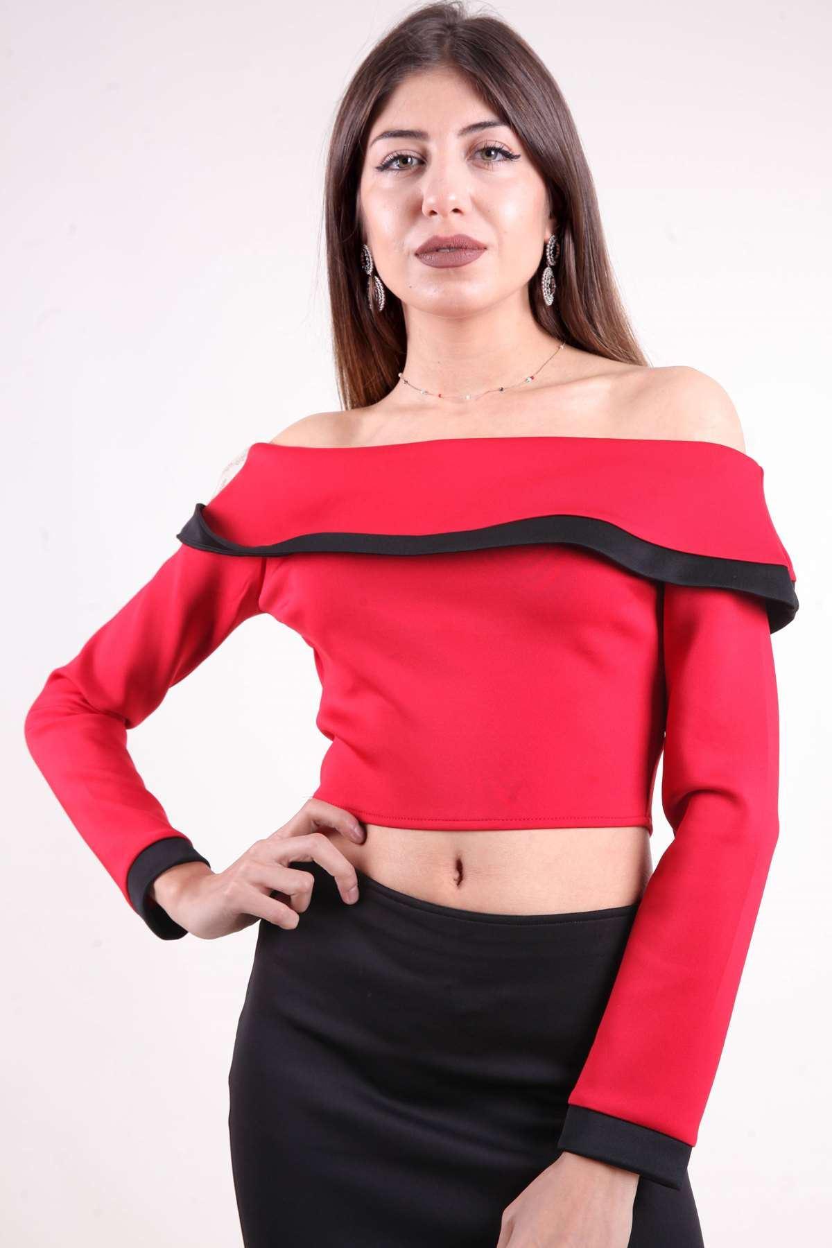 Kayık Yaka Uzun Kollu Mini Bluz Kırmızı