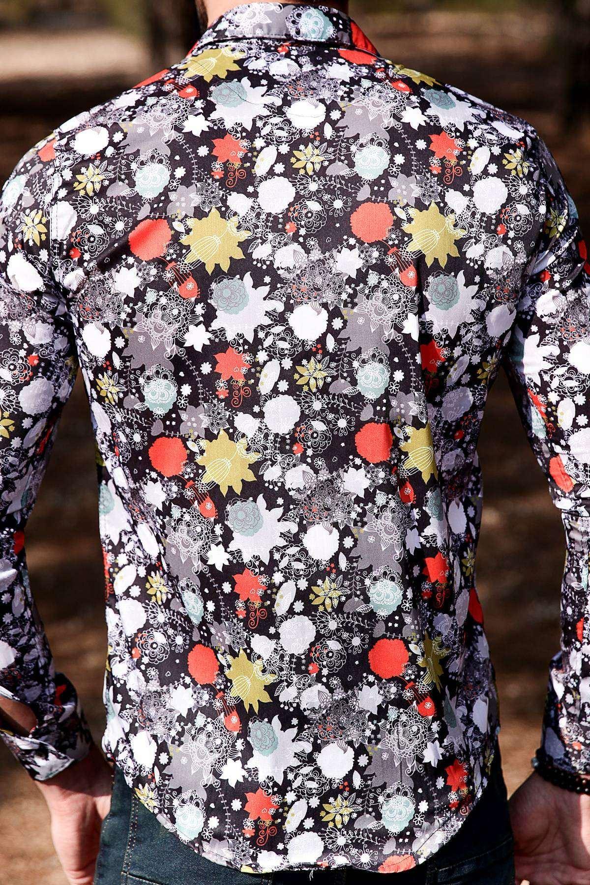 Karmaşık Çiçek Baskı Desenli Slim Fit Gömlek Siyah