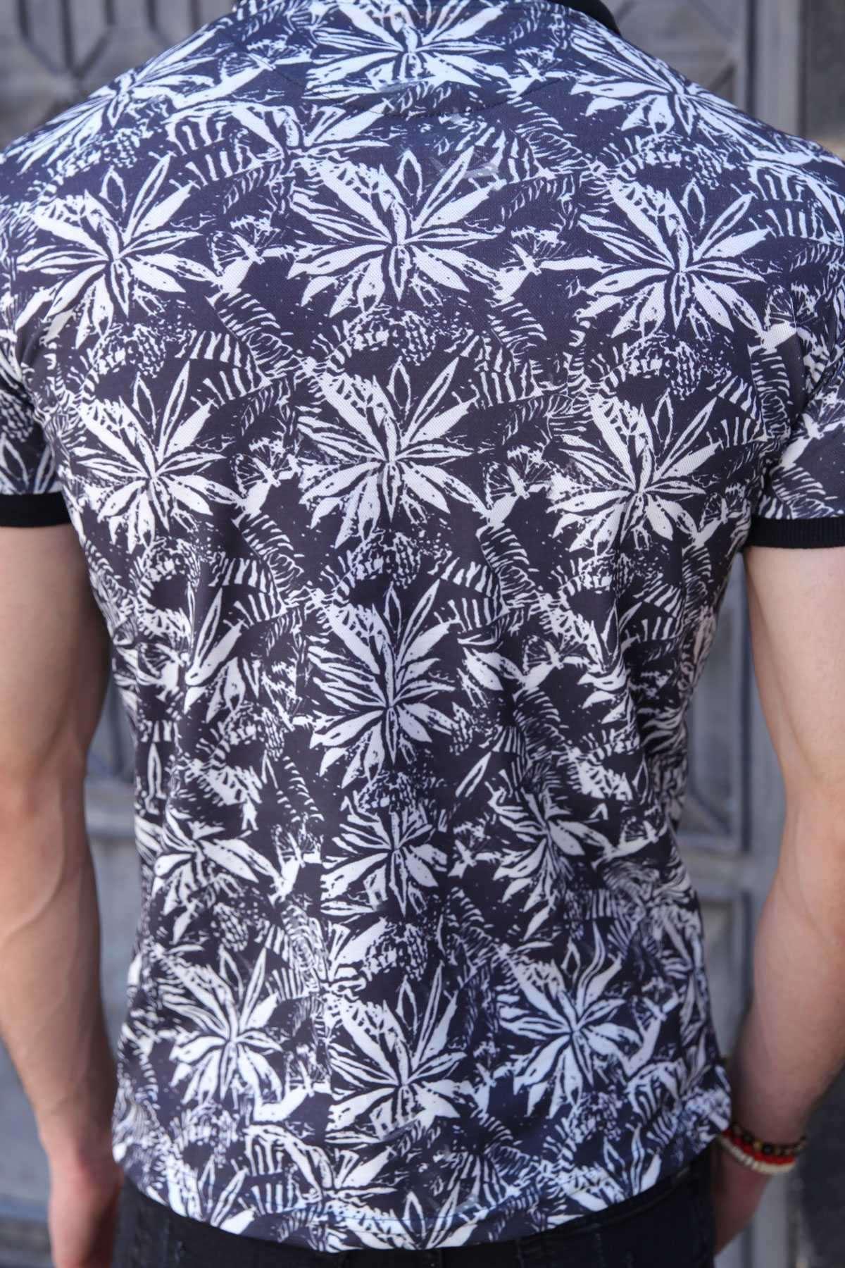 Kelebek Çiçek Baskılı Polo Yaka Slim Fit Tişört Lacivert