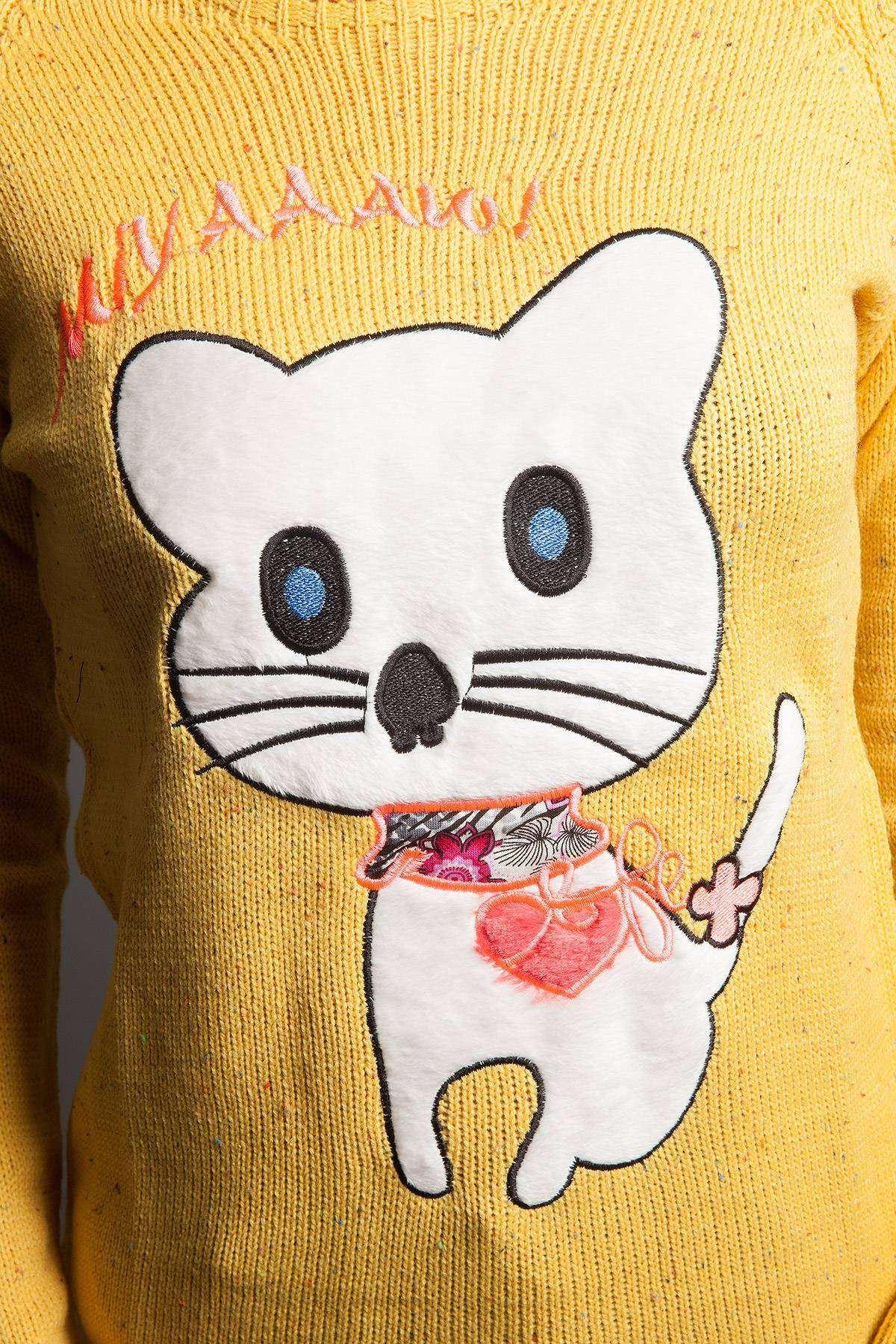Kedicikli Önü Kısa Salaş Triko Hardal
